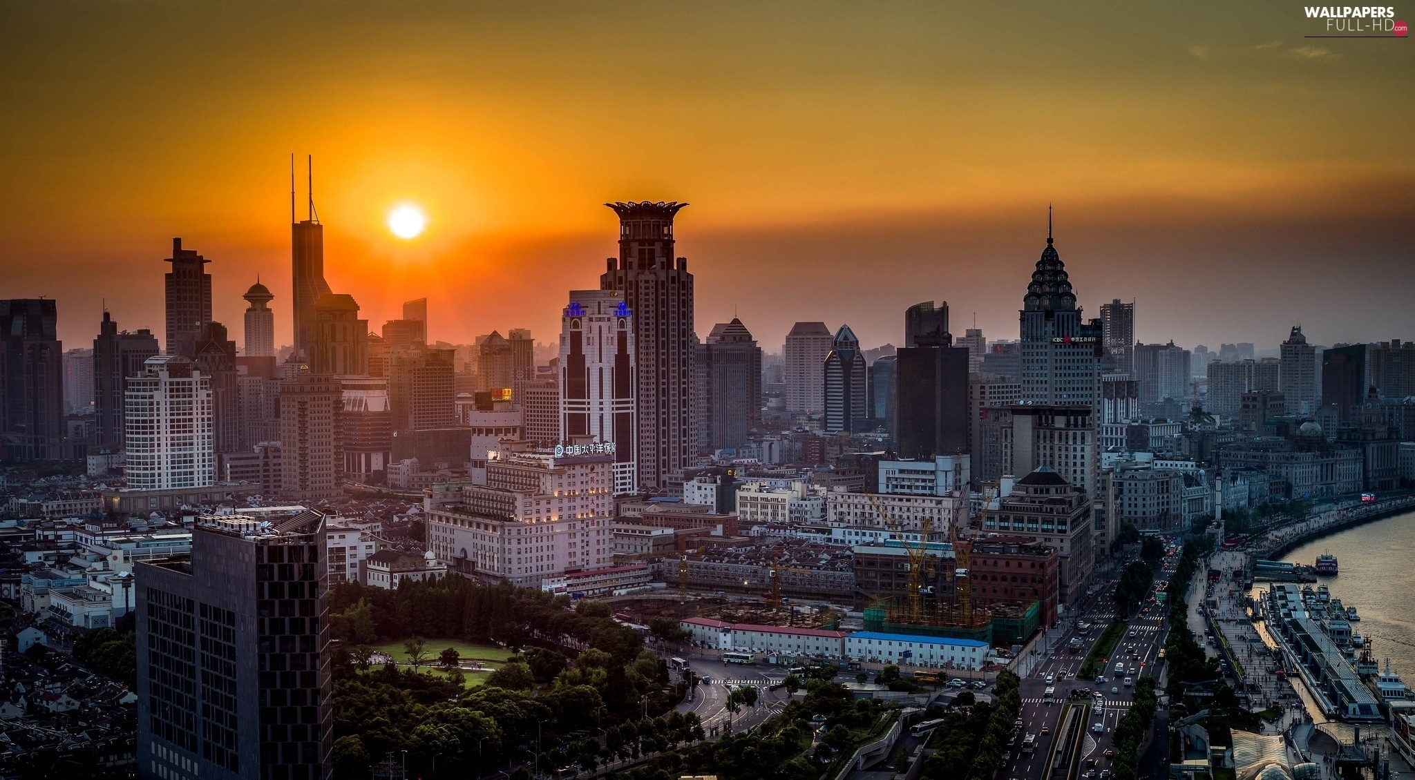 Great Sunsets, Town, China, Szanghaj