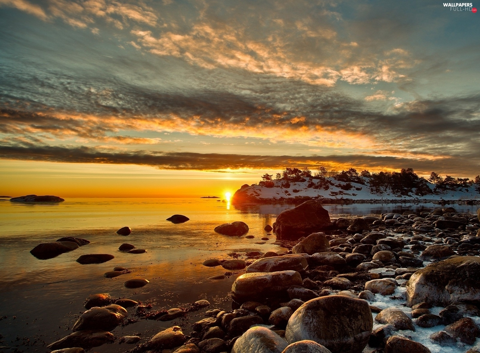 Great Sunsets, snow, lake, Stones