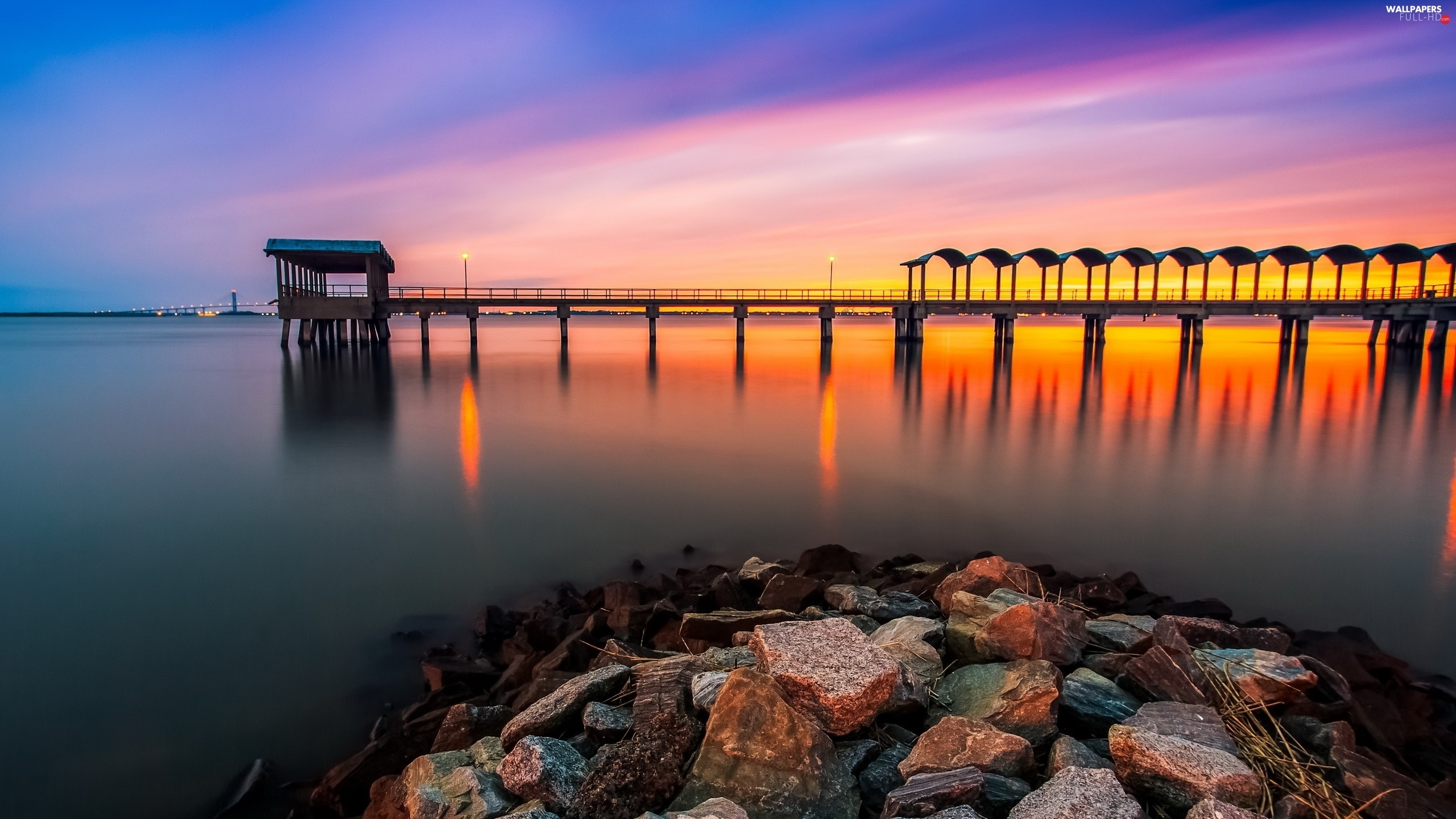 Great Sunsets, Stones, sea, pier