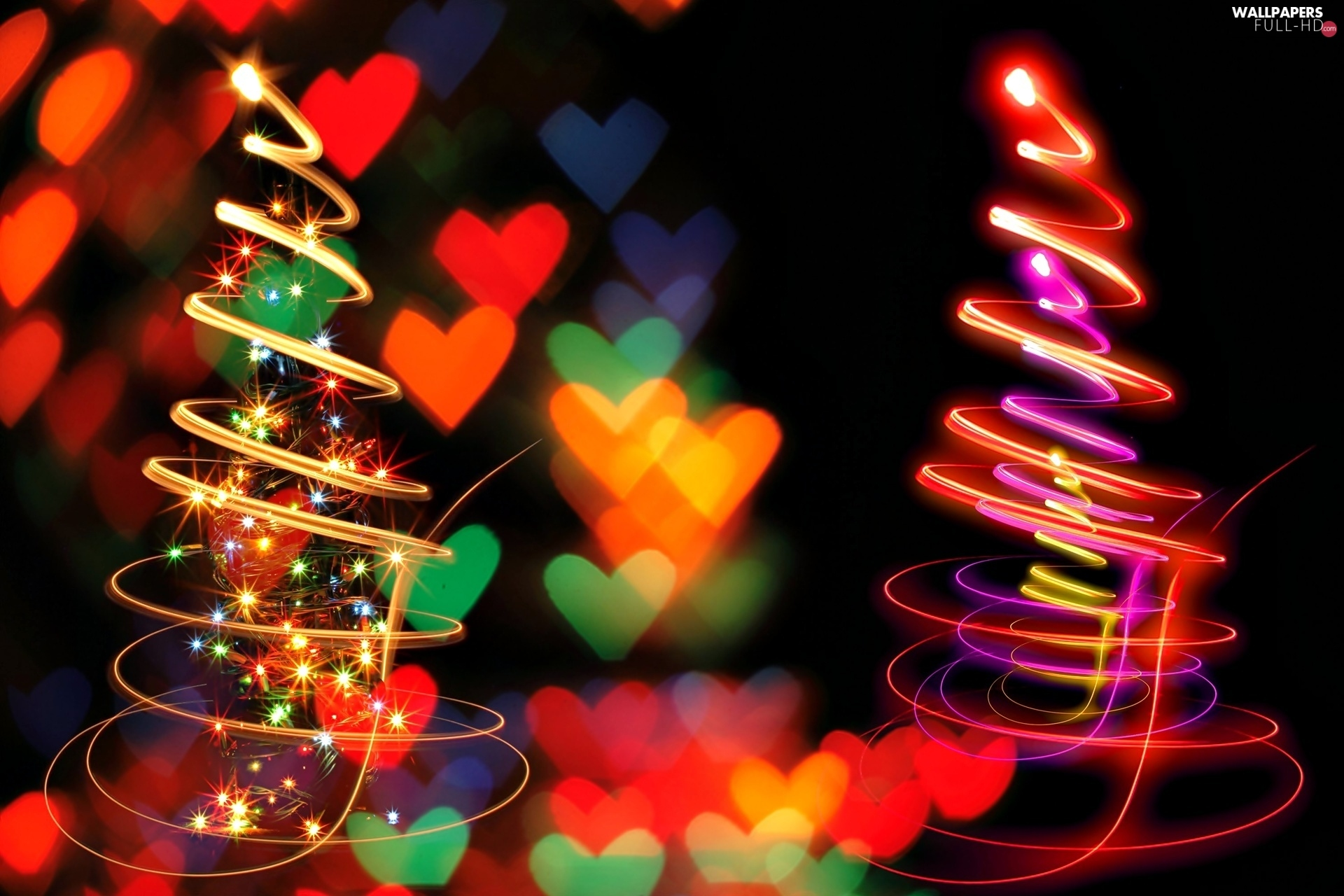 hearts, Stars, abstraction, Christmas