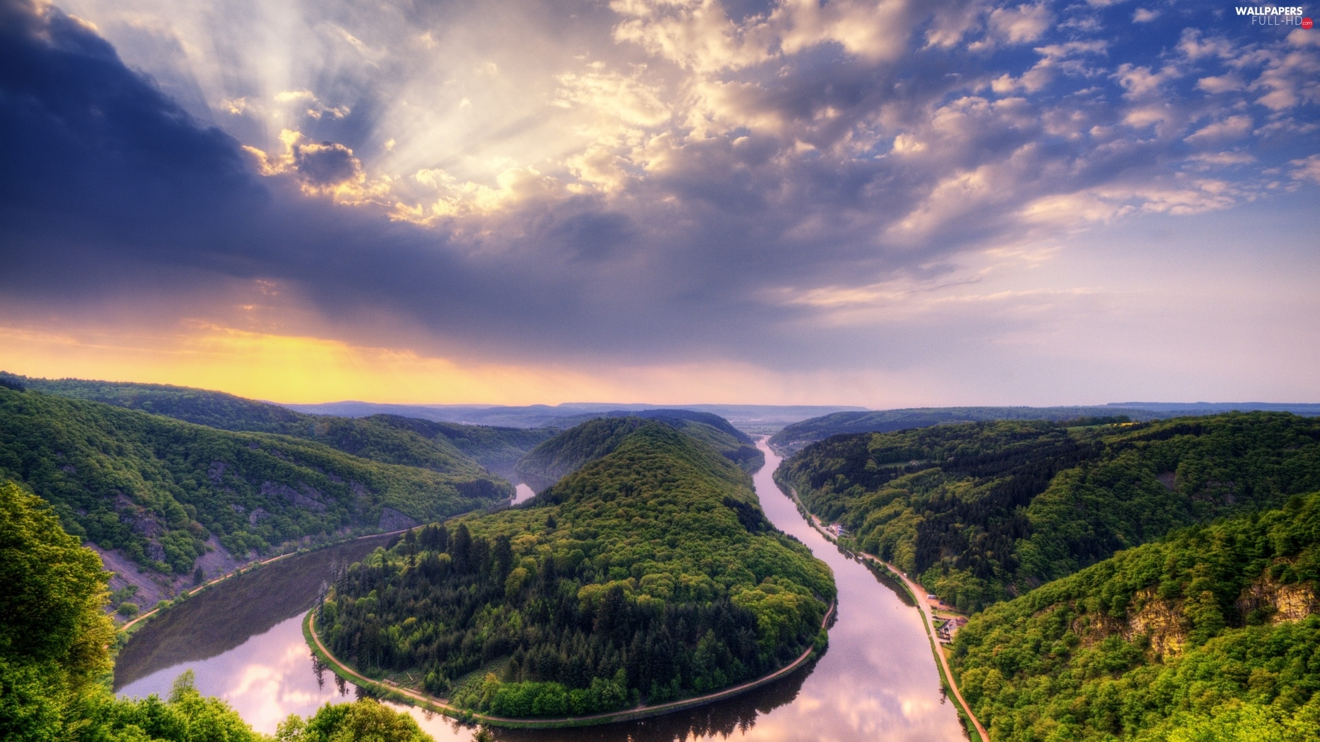 The Hills, trees, viewes, winding, clouds, River