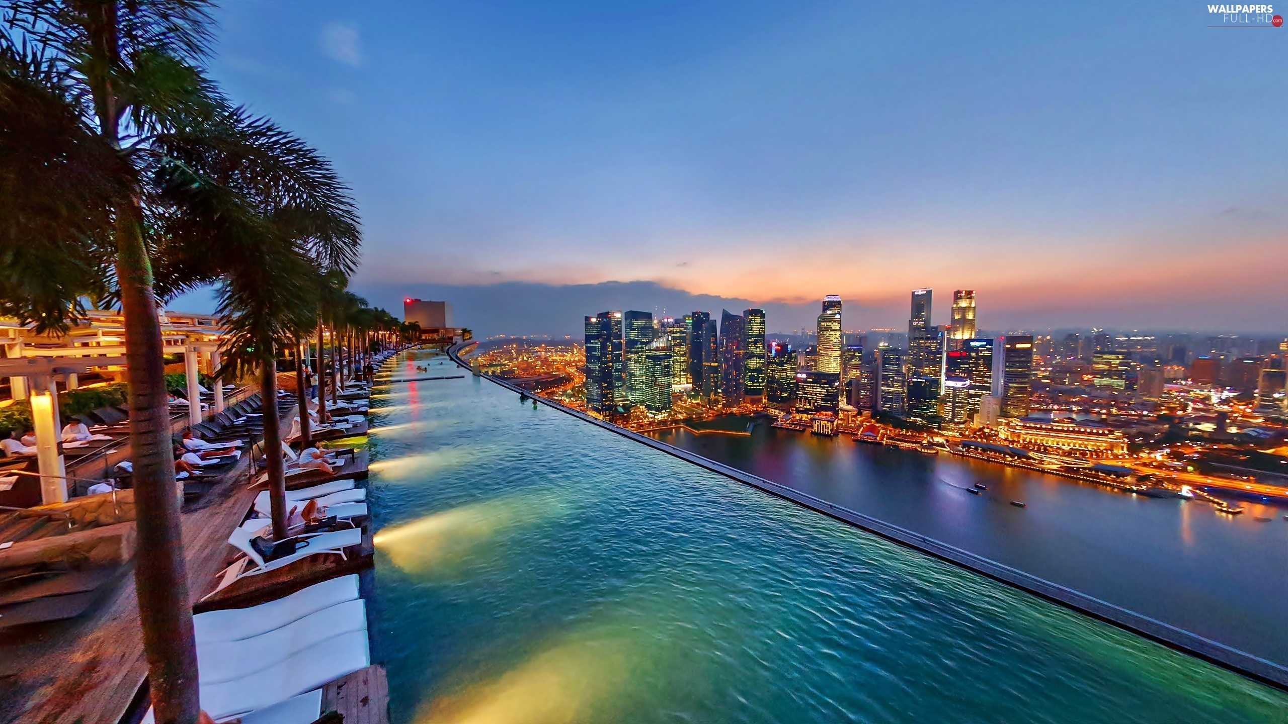 Bay, Stands, Hotel hall, Singapore, panorama, Pool, On Roof, night, Marina