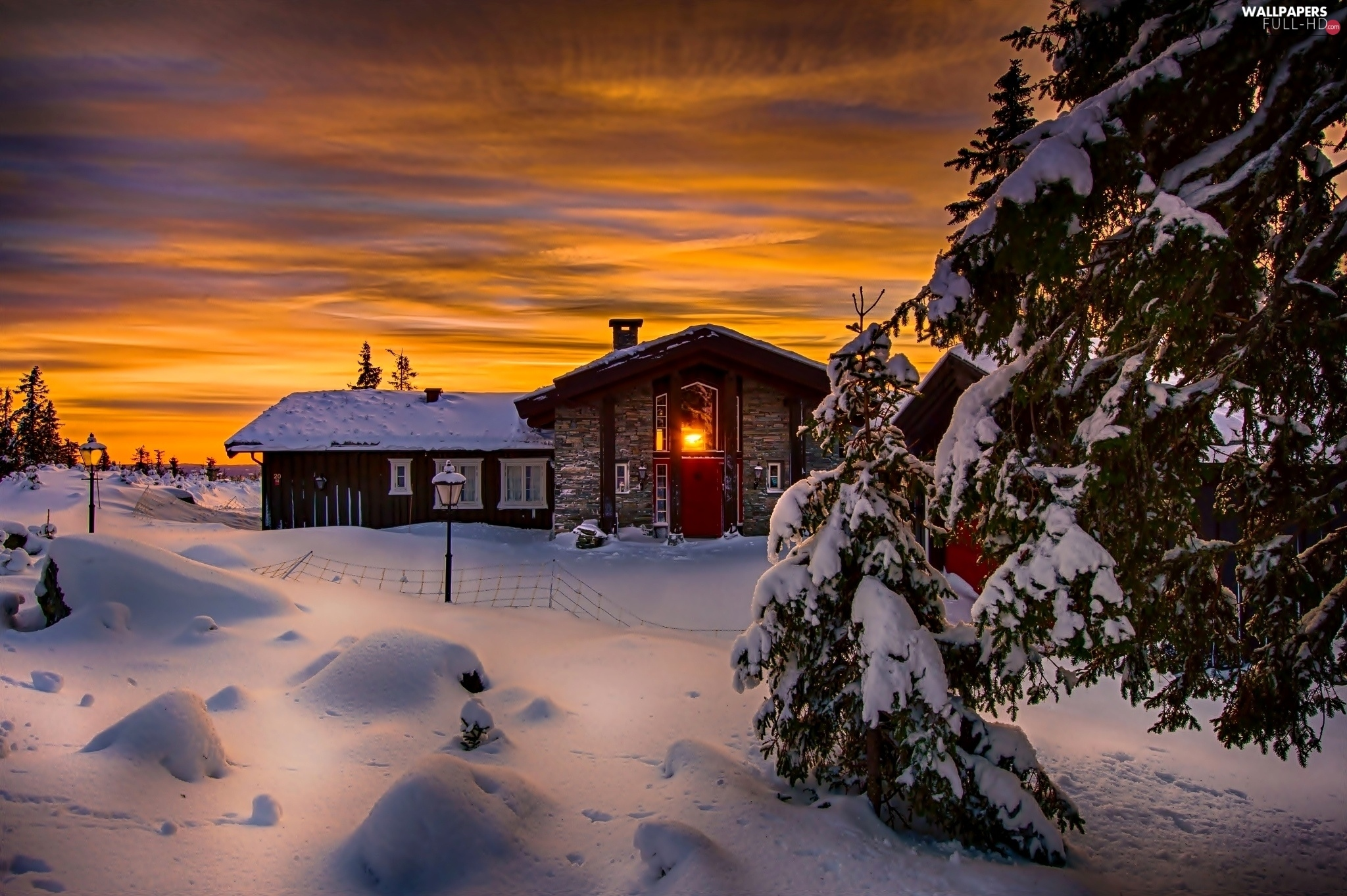 house, sun, winter, west