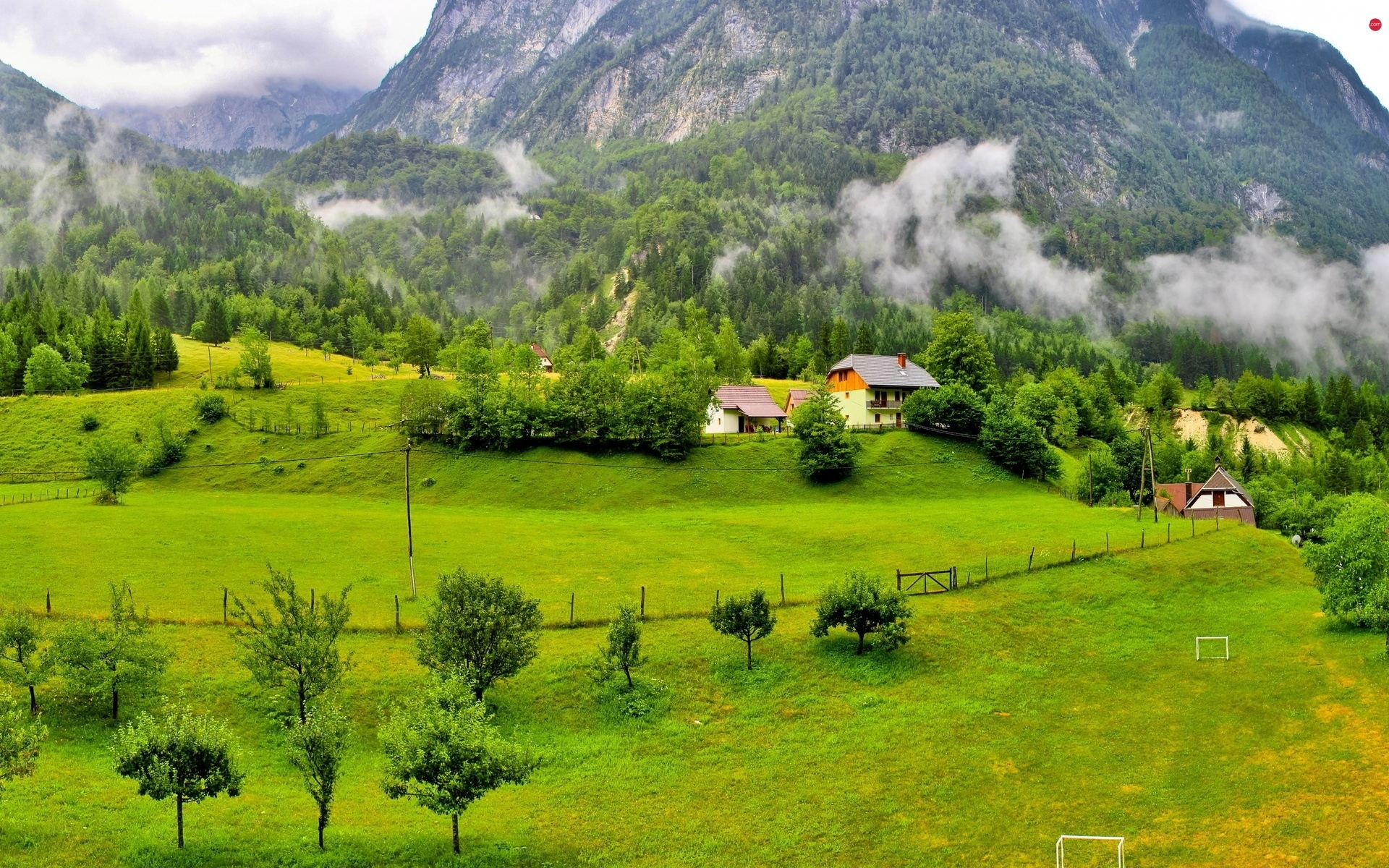 Houses, field, Mountains, Fog, woods
