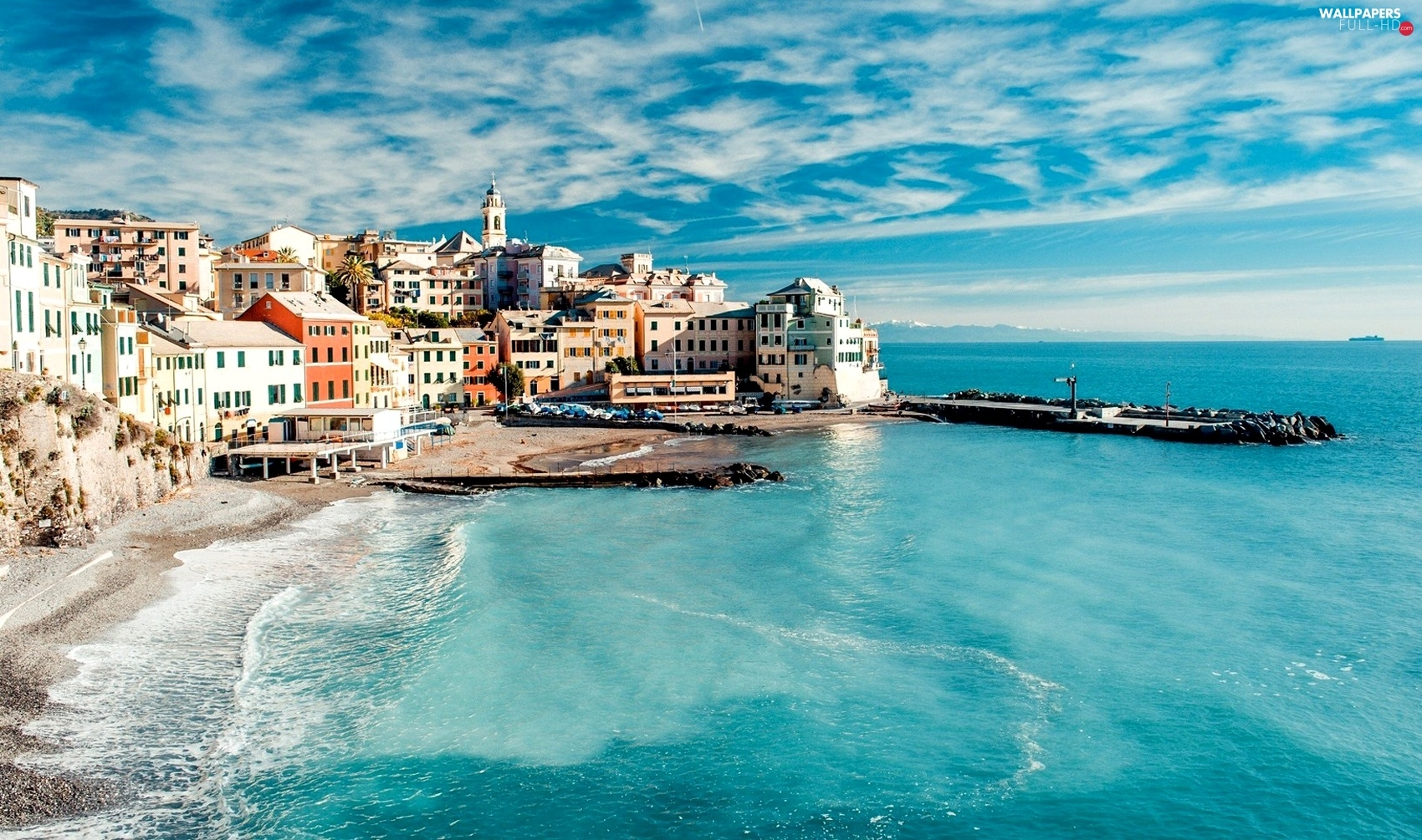 Houses, Town, Italy, sea