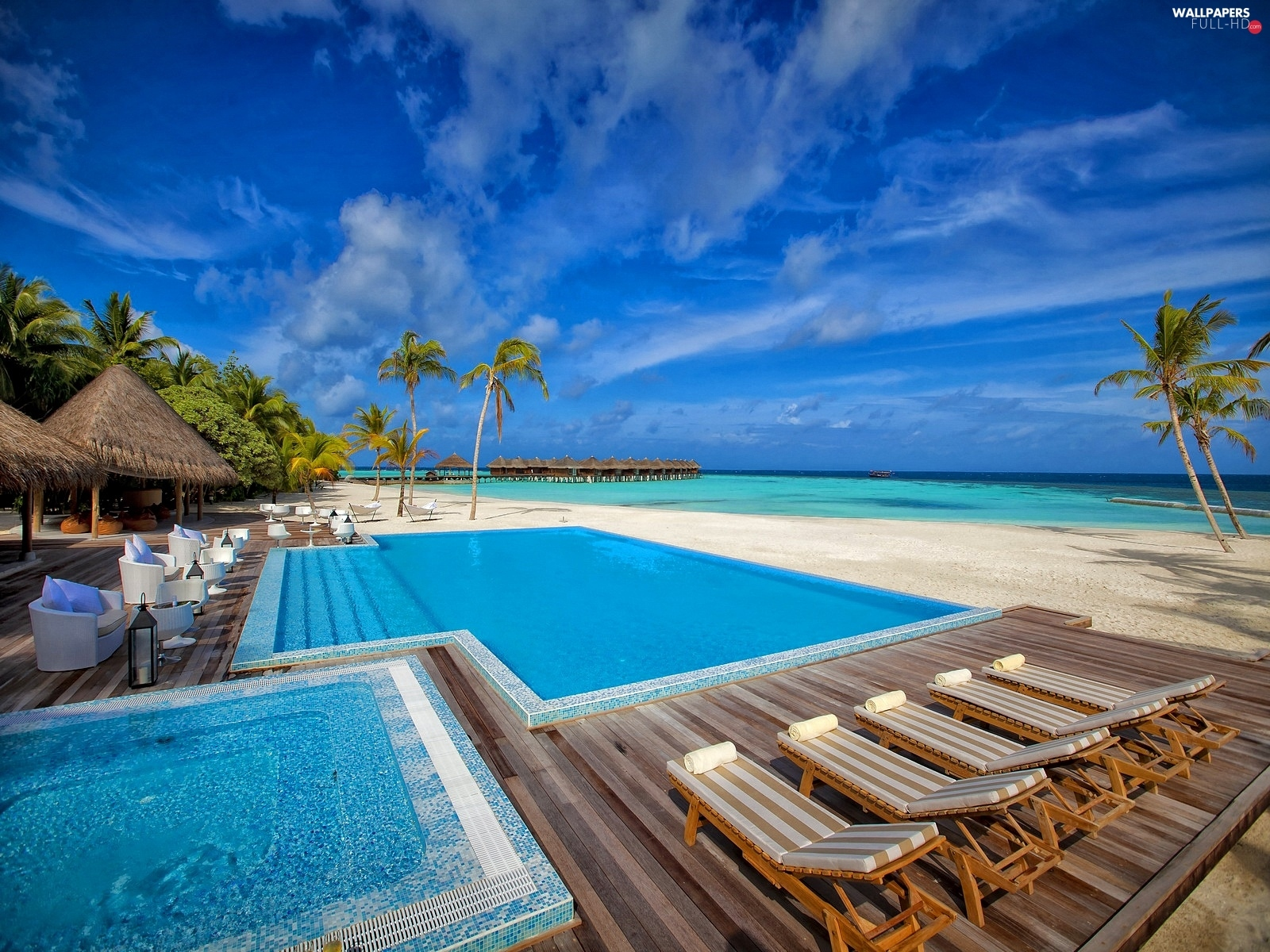 Houses, deck chair, Pool, Palms, sea