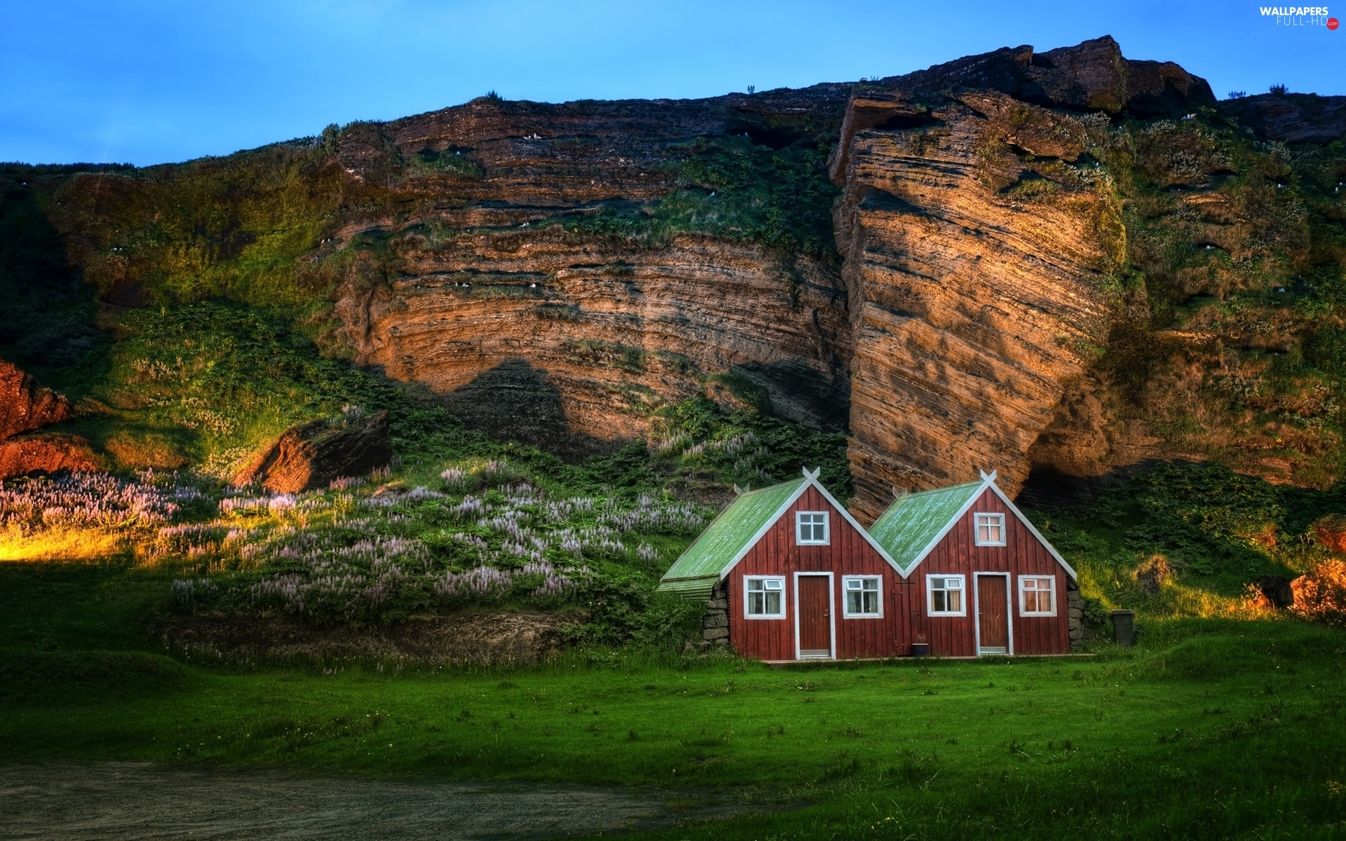 Houses, iceland, Mountains