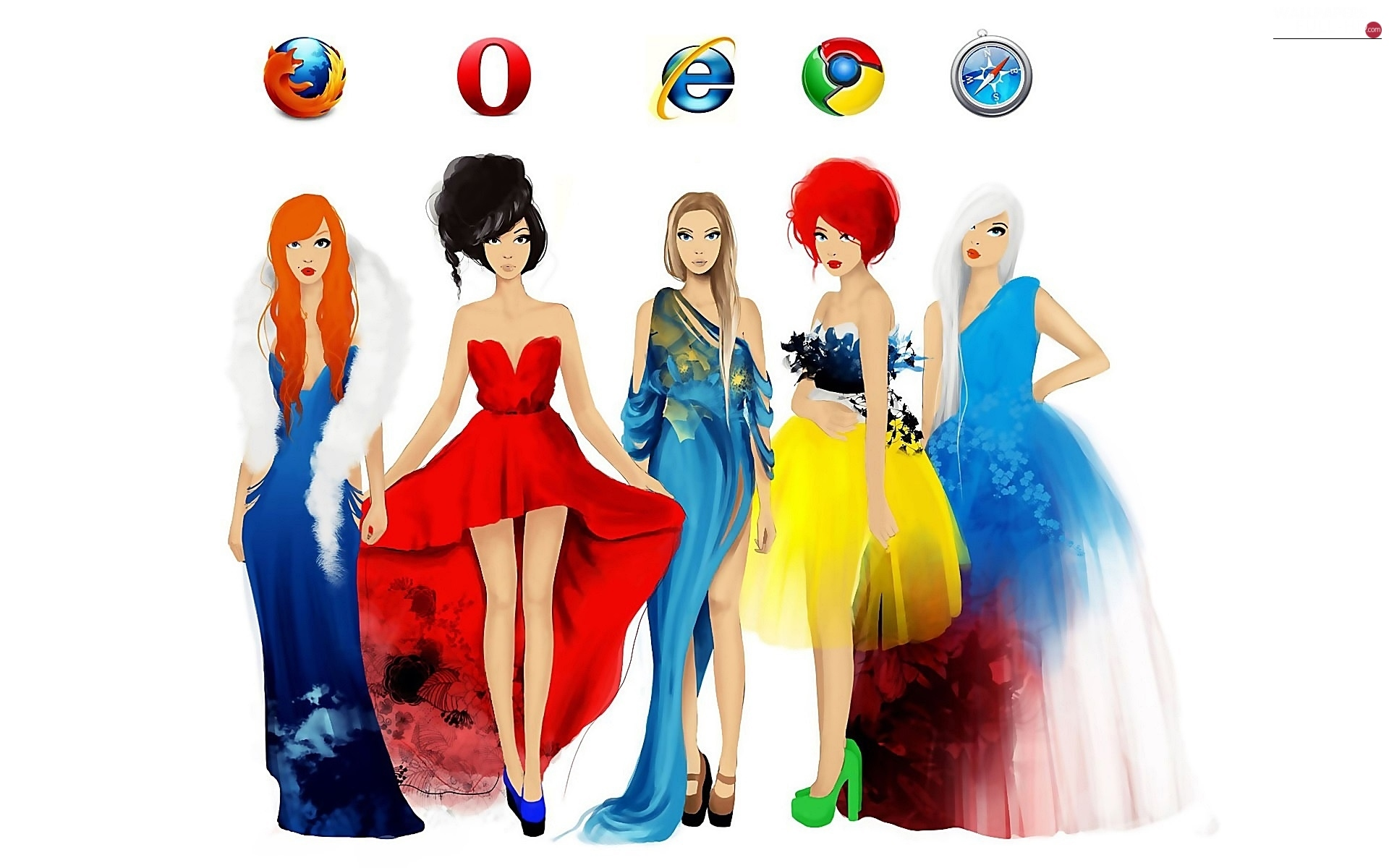 watercolor, Womens, Colorful Dresses, Browsers, Fashion and Style, Icons