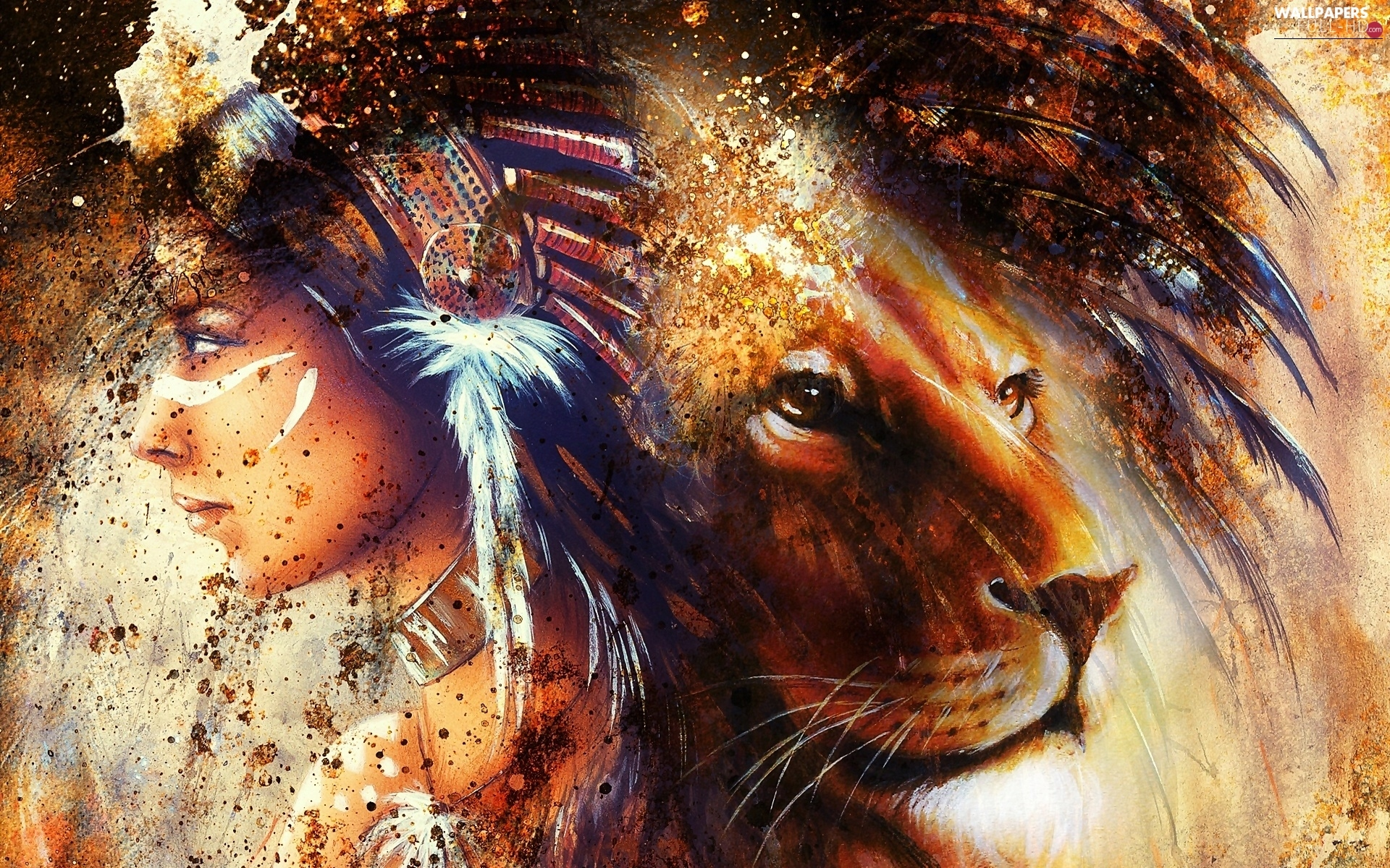 Indian, Lion, graphics, fantasy