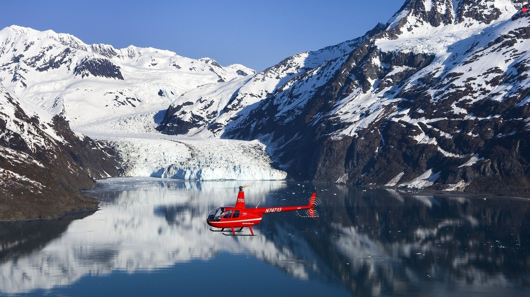 Helicopter, lake, Mountains