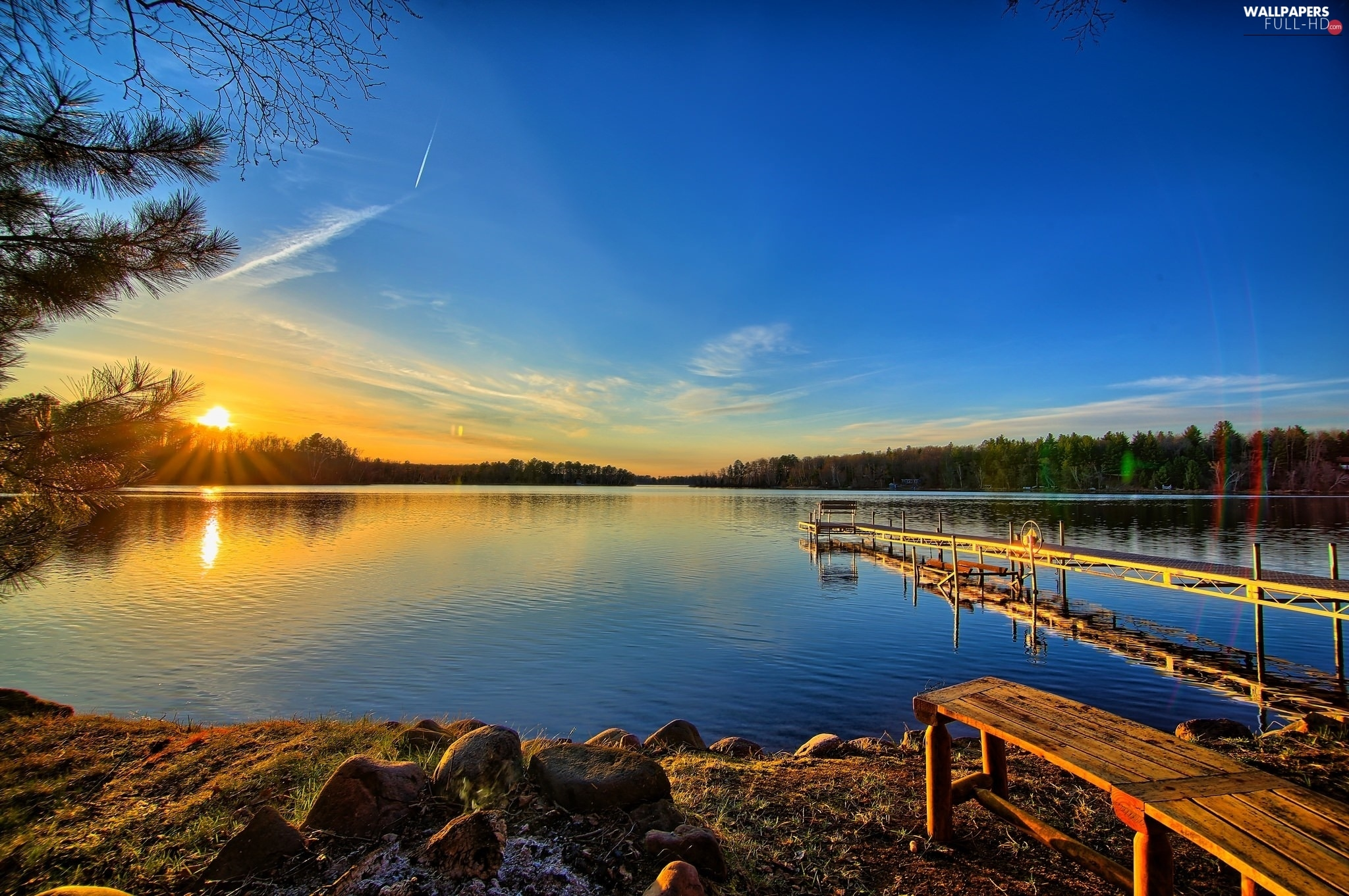 lake, Sunrise, Platform, Sky
