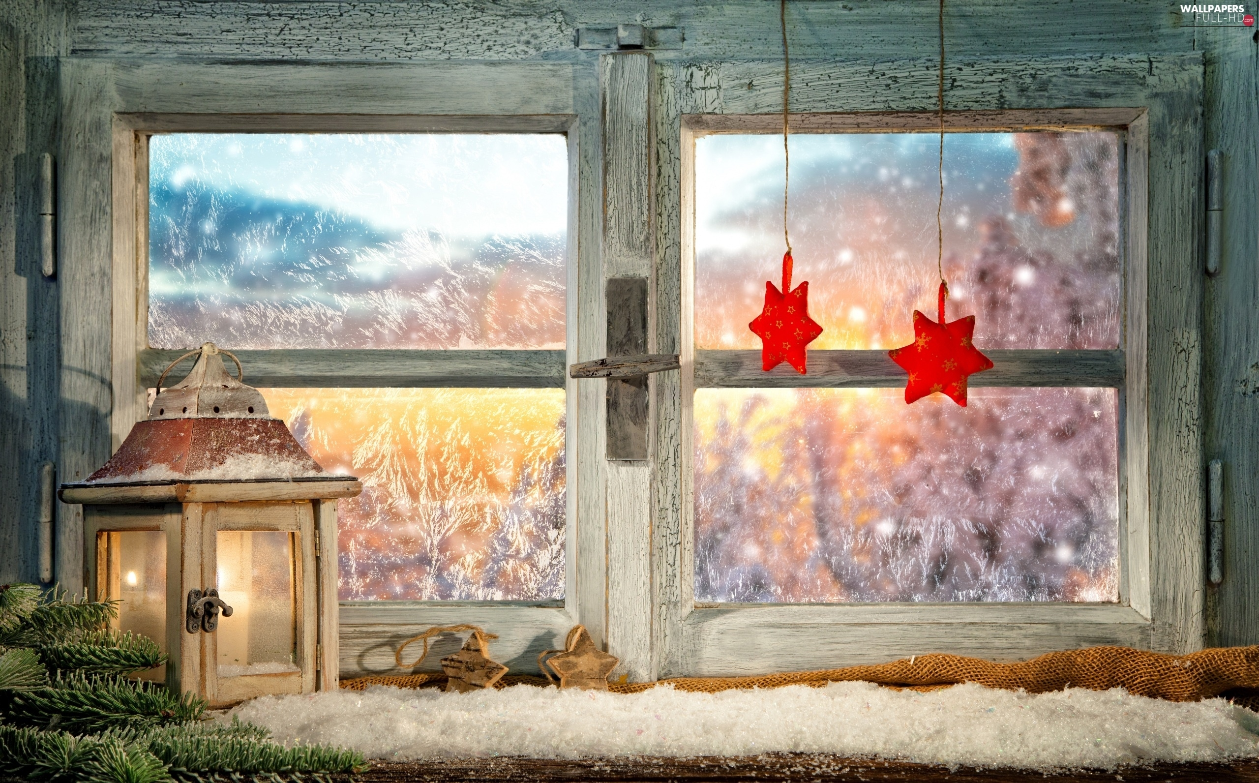 lantern, Window, decoration, Christmas