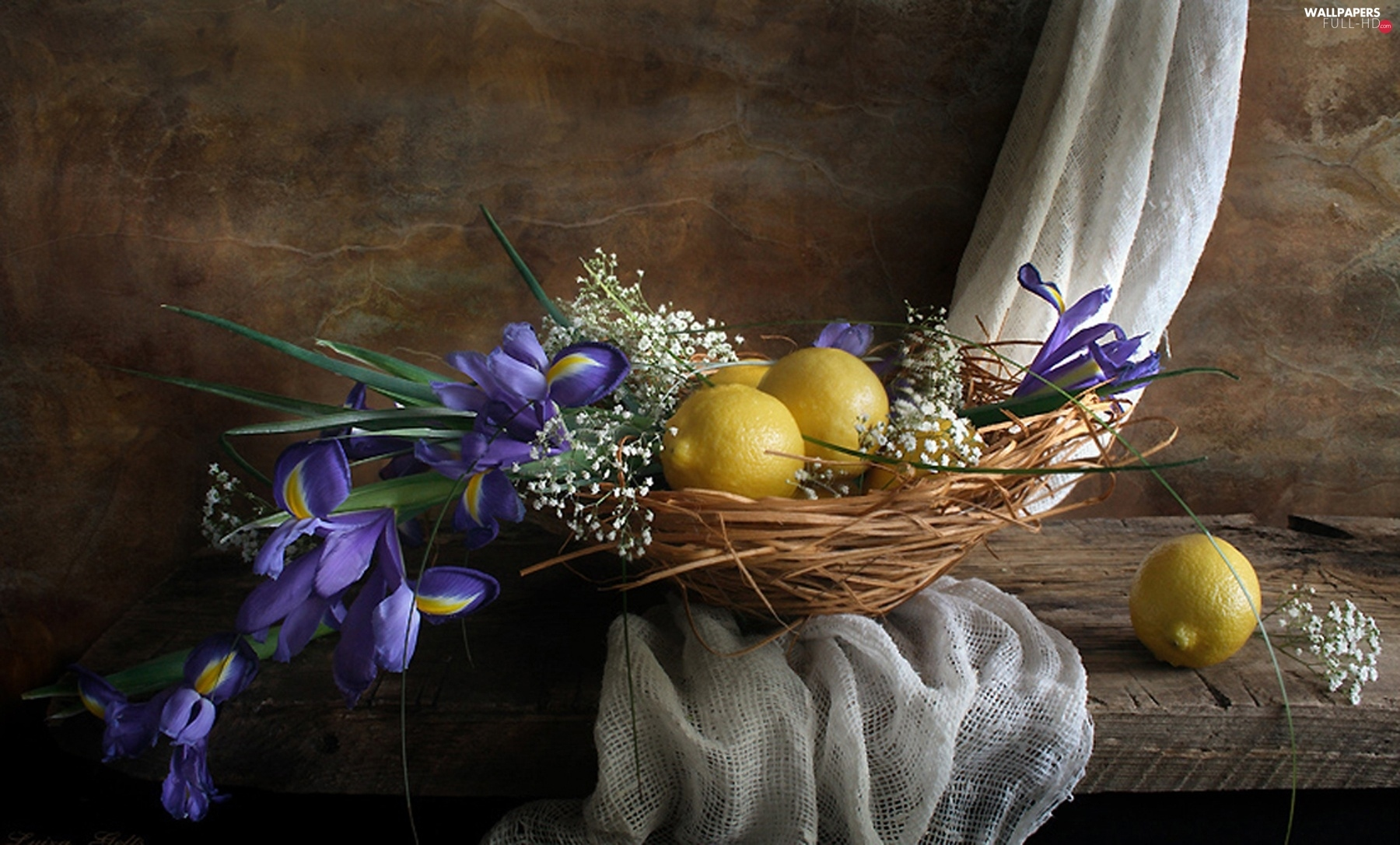 lemons, Irises, composition, Flowers