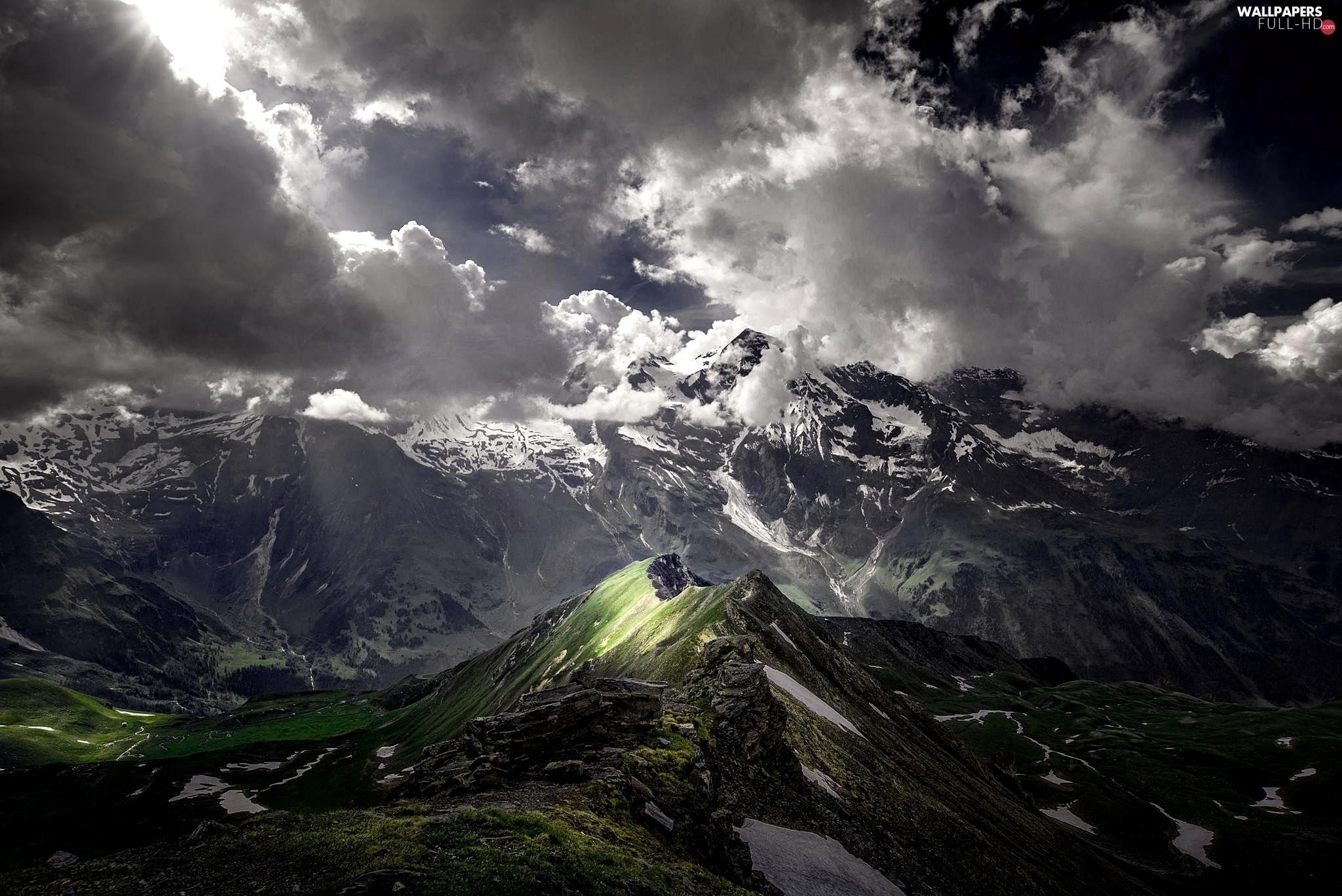 light breaking through sky, Mountains, clouds
