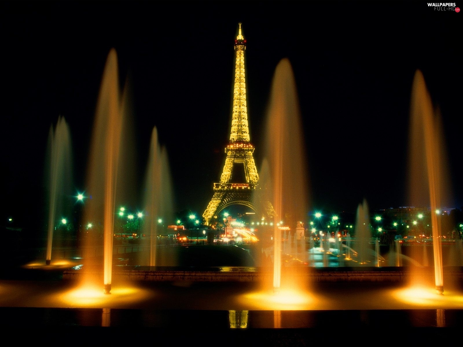 Paris, Night, light, Eiffla Tower, France, fountain