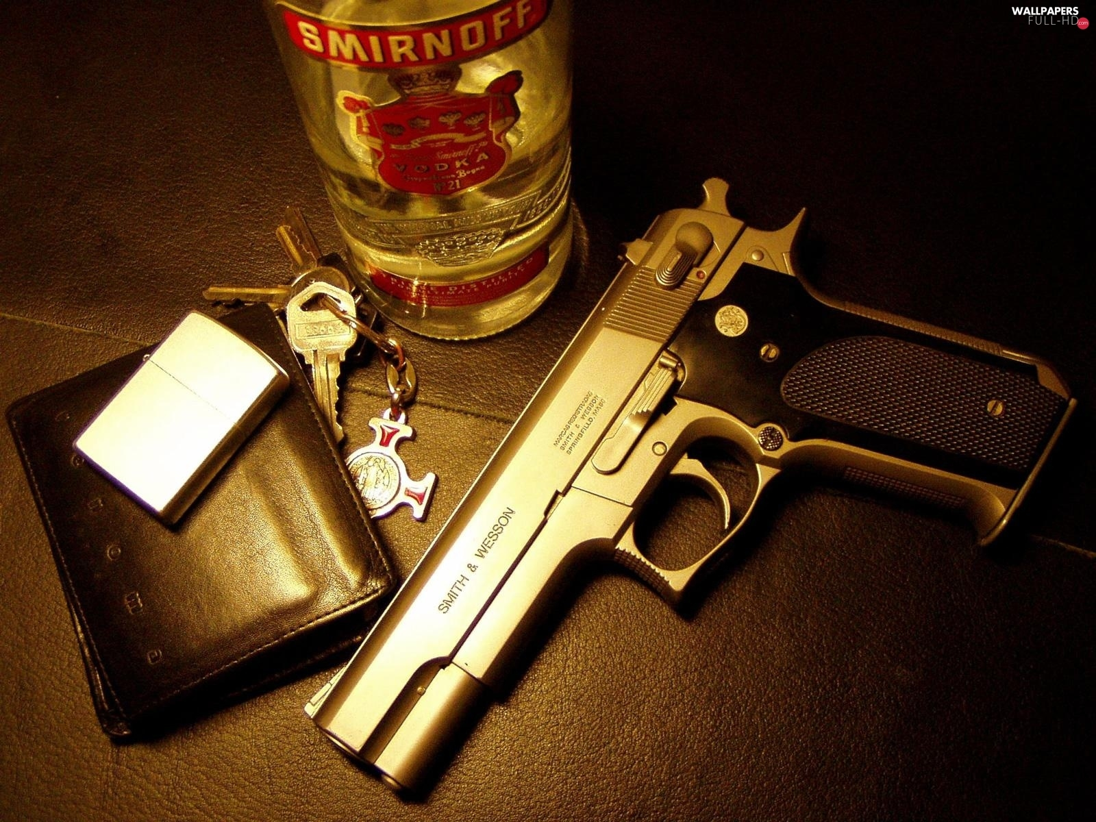 lighter, Gun, wallet, vodka, keys, Smirnoff