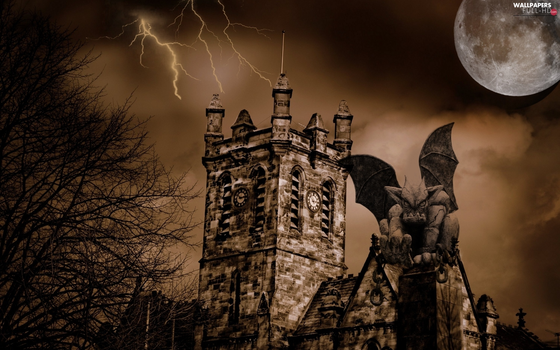 lightning, moon, Storm, gargoyle, sepia, tower