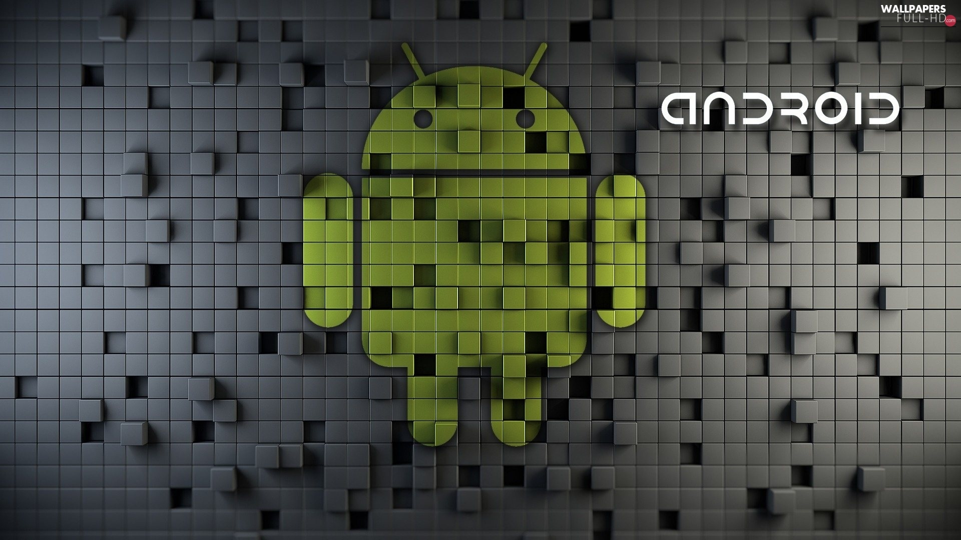 3D, logo, Android