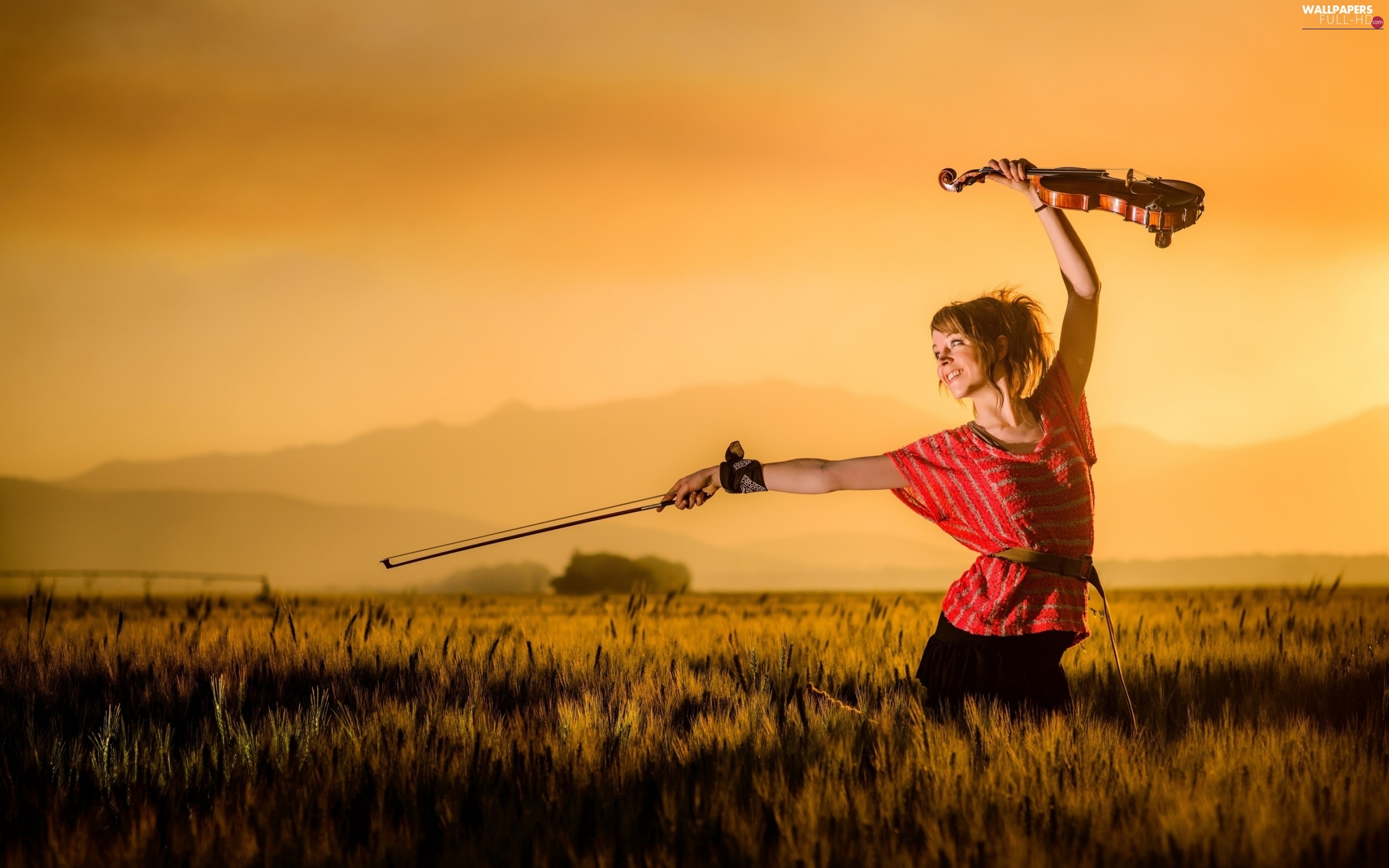 Meadow, violin, Lindsey, Mountains, Stirling