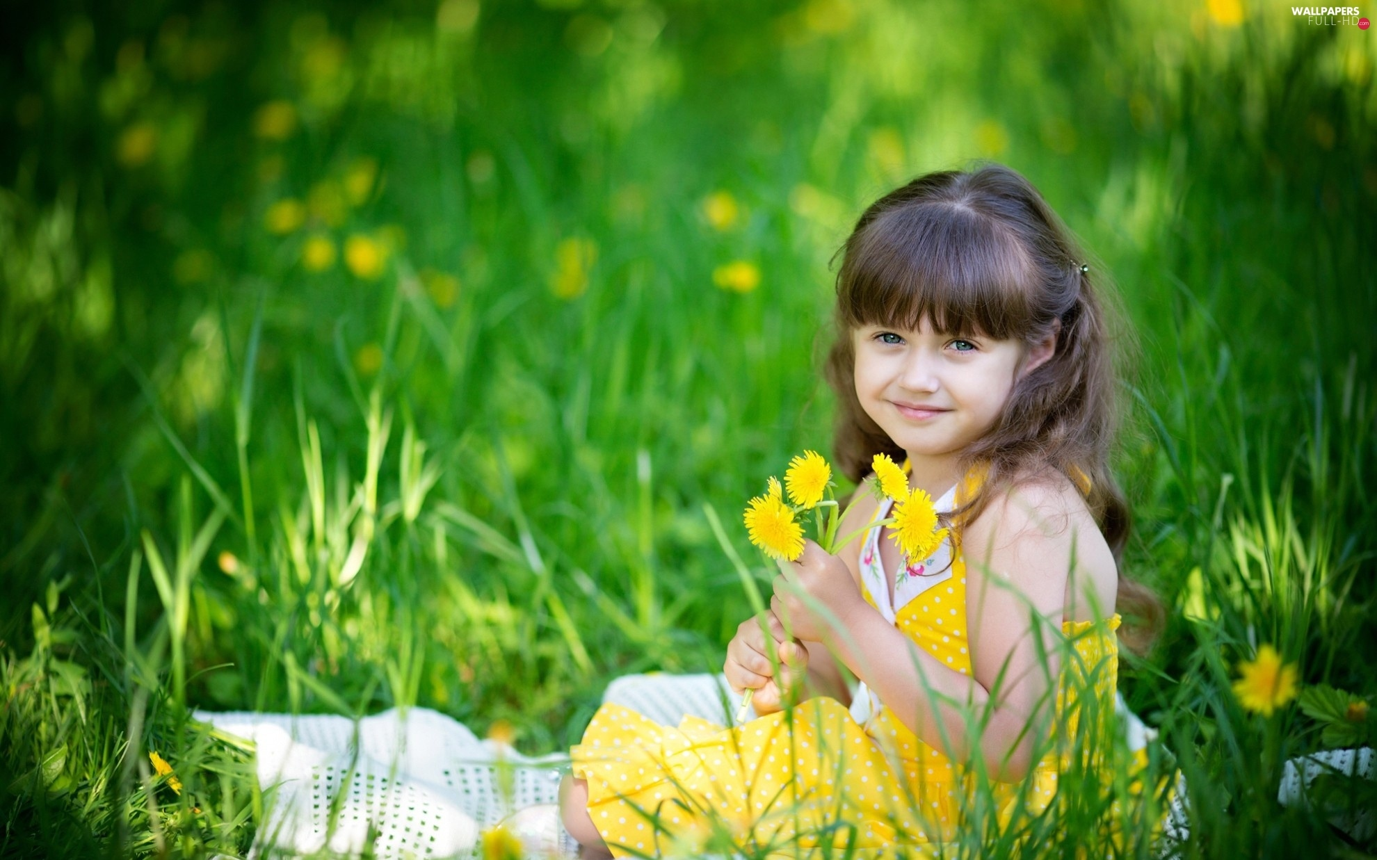 Meadow, flowers, smiling, girl
