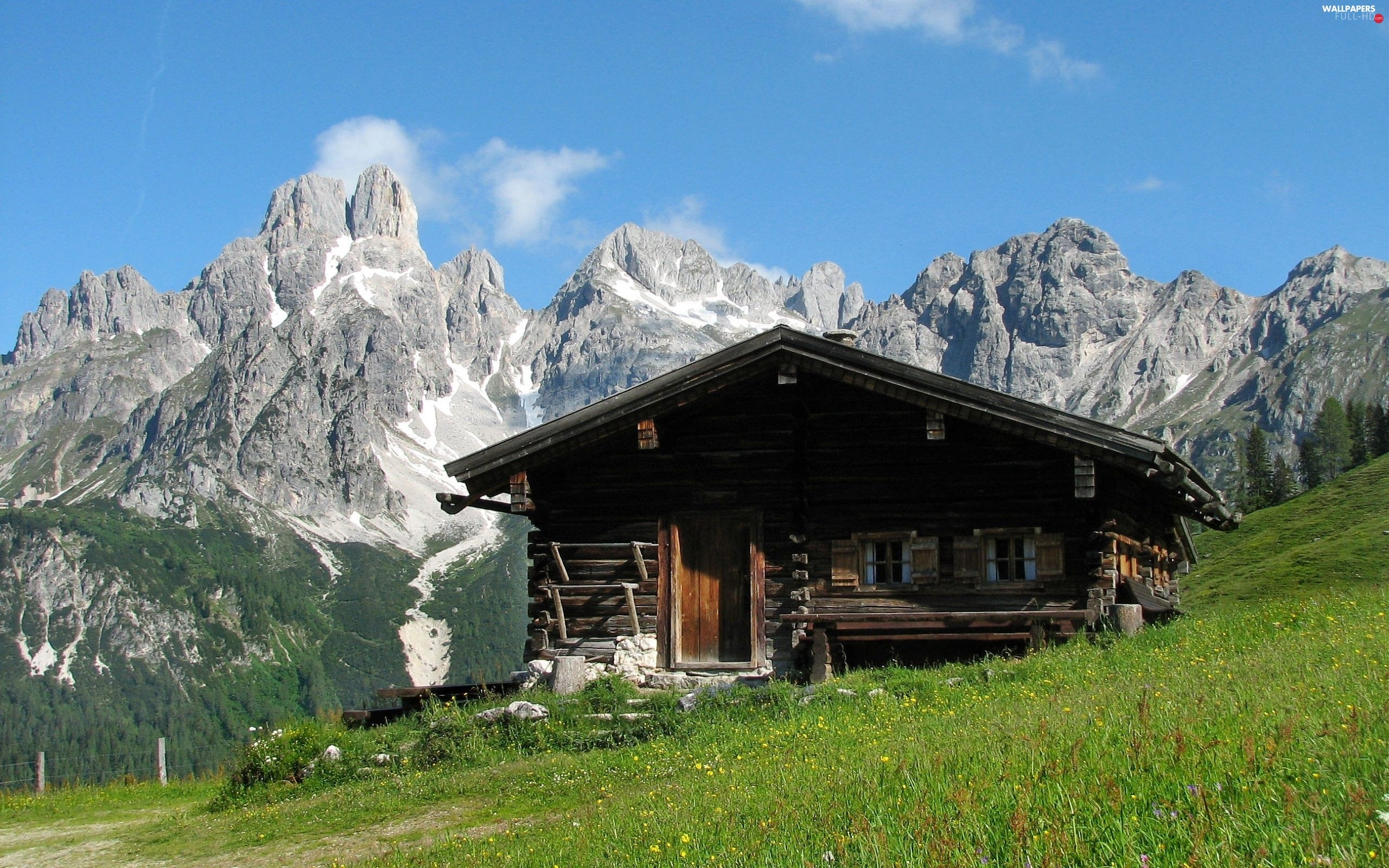 Mountains, Rocky, wooden, grass, house