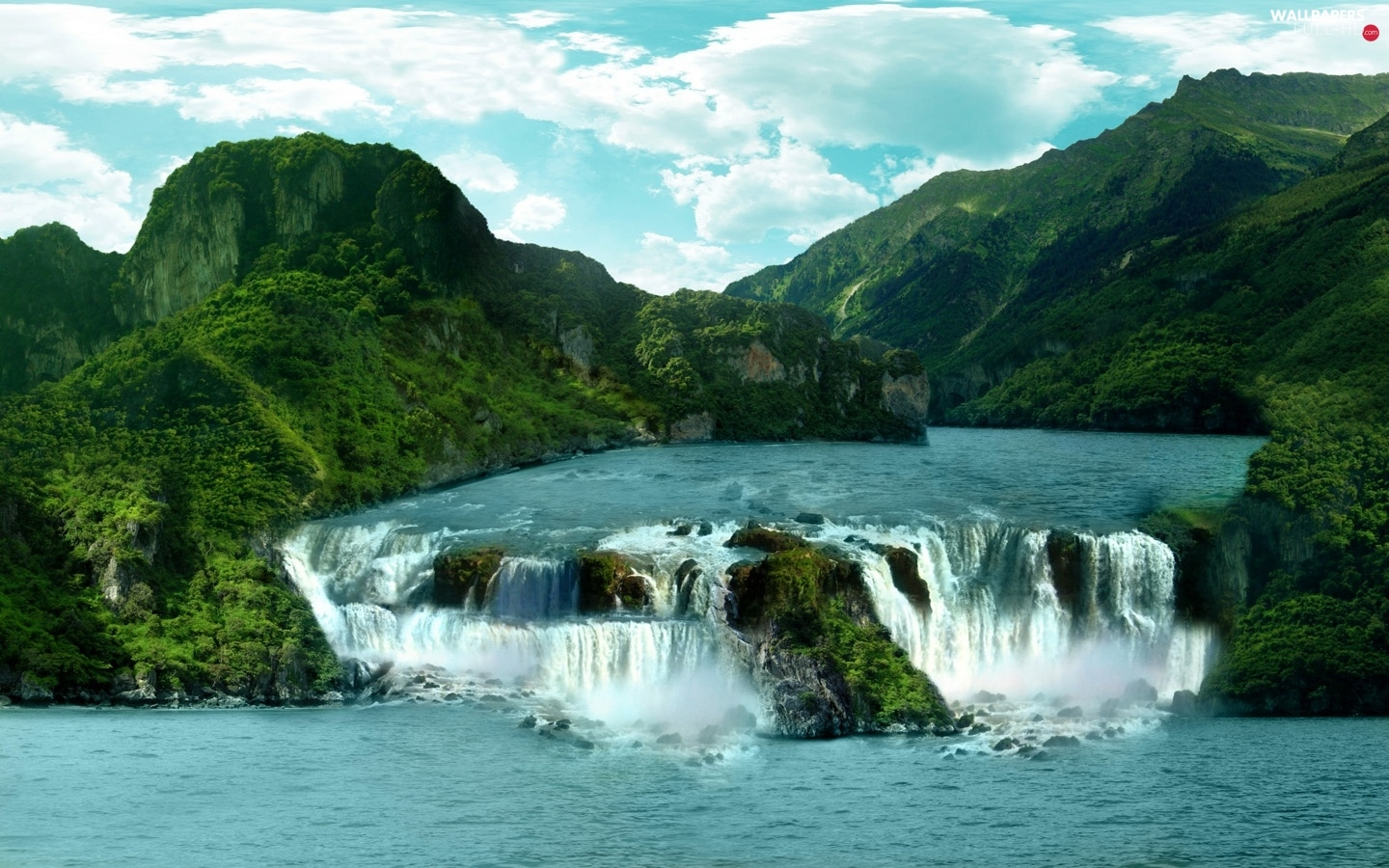 River, Mountains, waterfall
