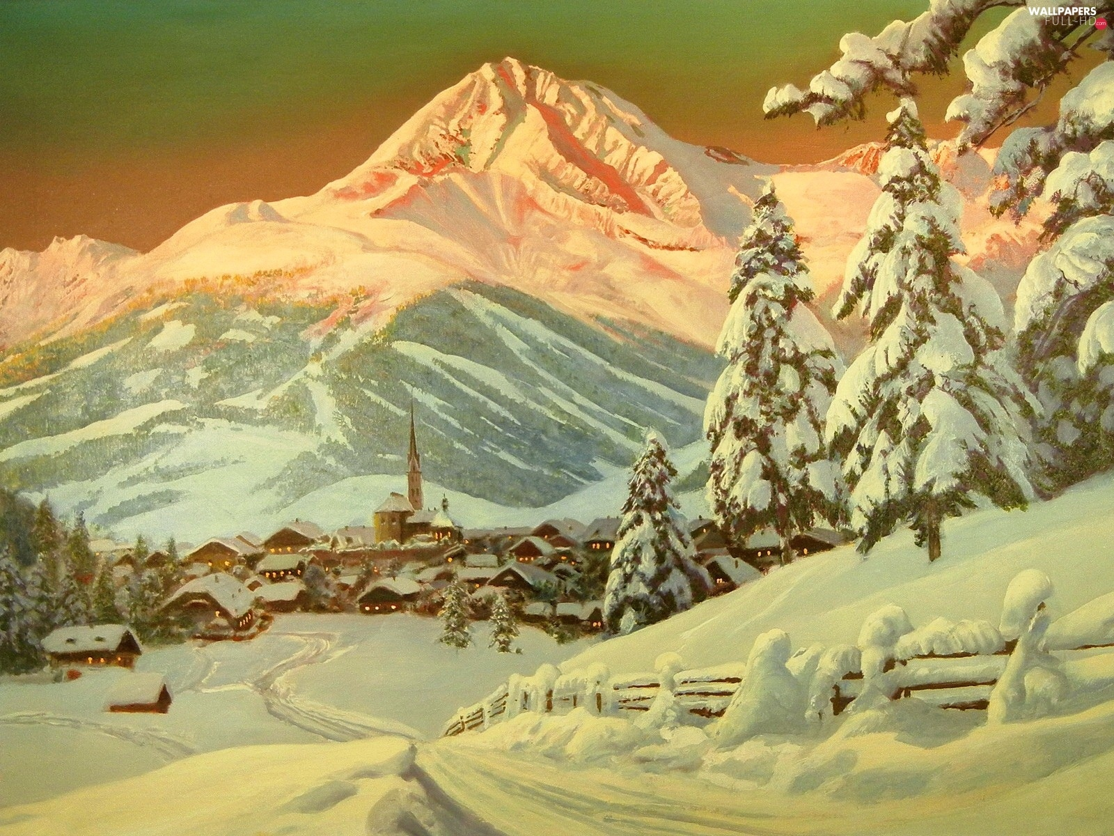 Mountains, The foothills, Town, winter, U