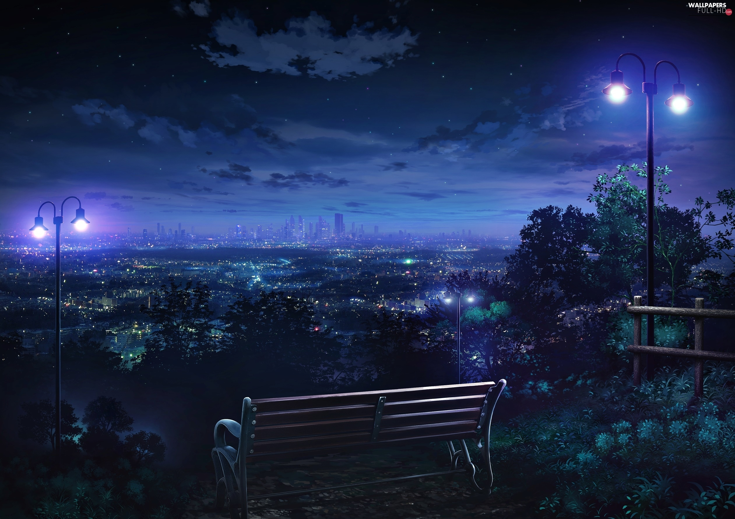 Night, Panorama of City, Bench, light