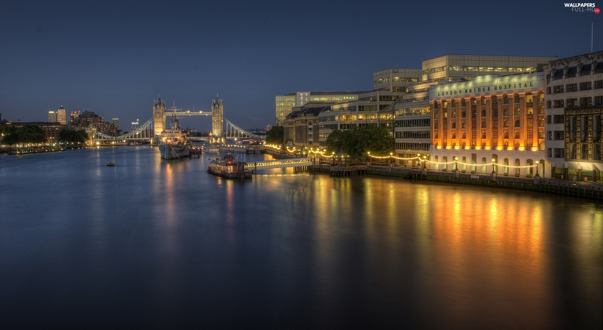 Night, London, illuminated, Town