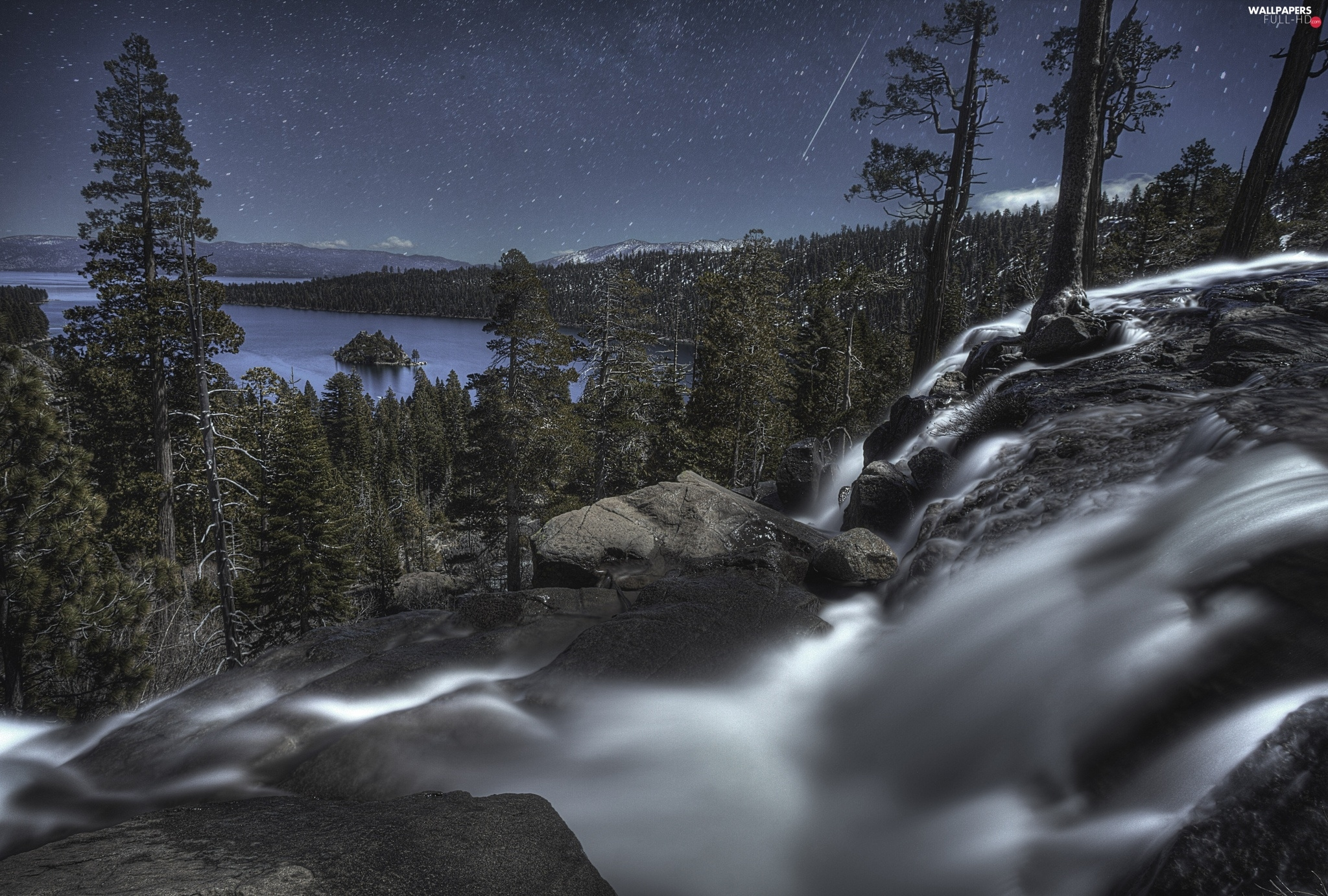 Night, lake, waterfall, forest