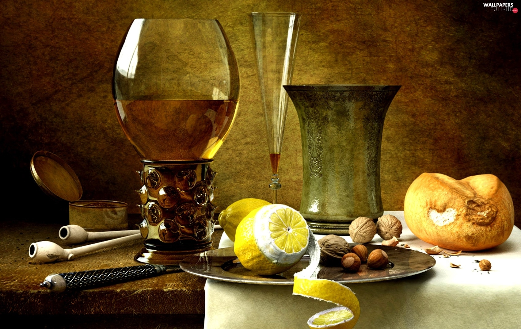 roll, nuts, Wine, Lemon, picture, Kornel, glasses, Ravaditis