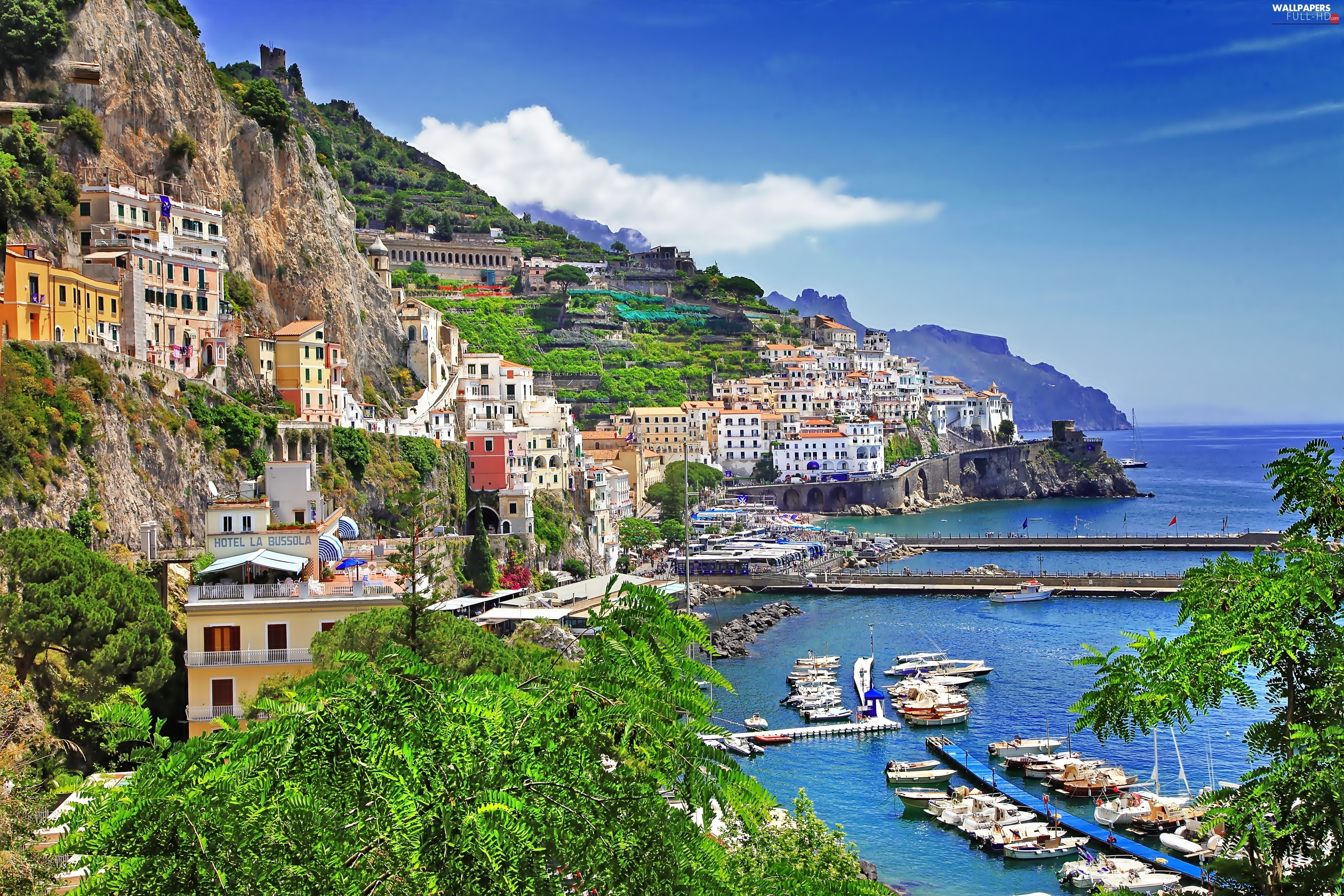 Hotels, Mountains, Boats, Coast, Picture of Town, Italy, Positano, Aerial View, sea