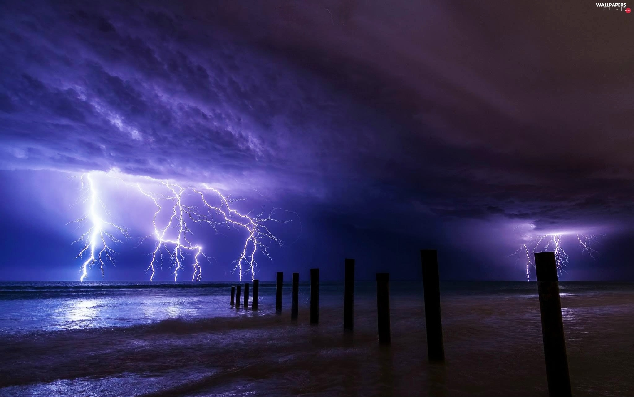 Pale, sea, Lightning, clouds