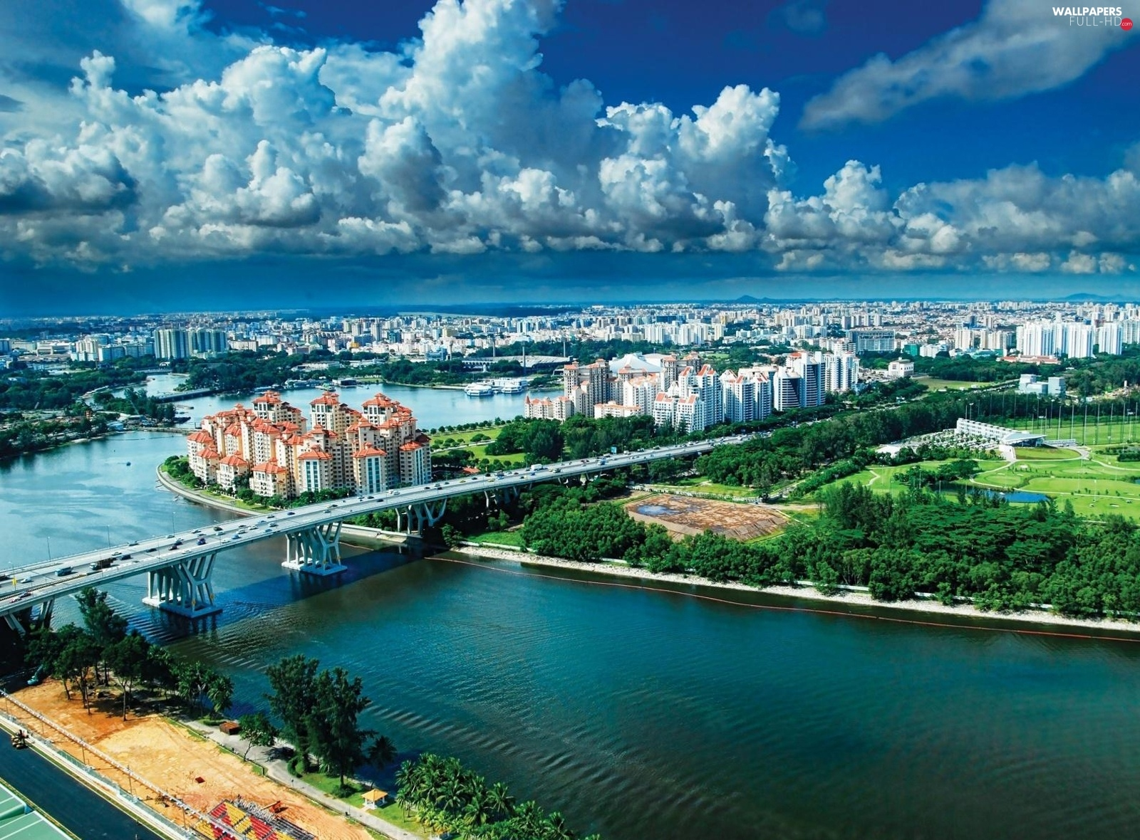 panorama, bridge, Singapur, town, River