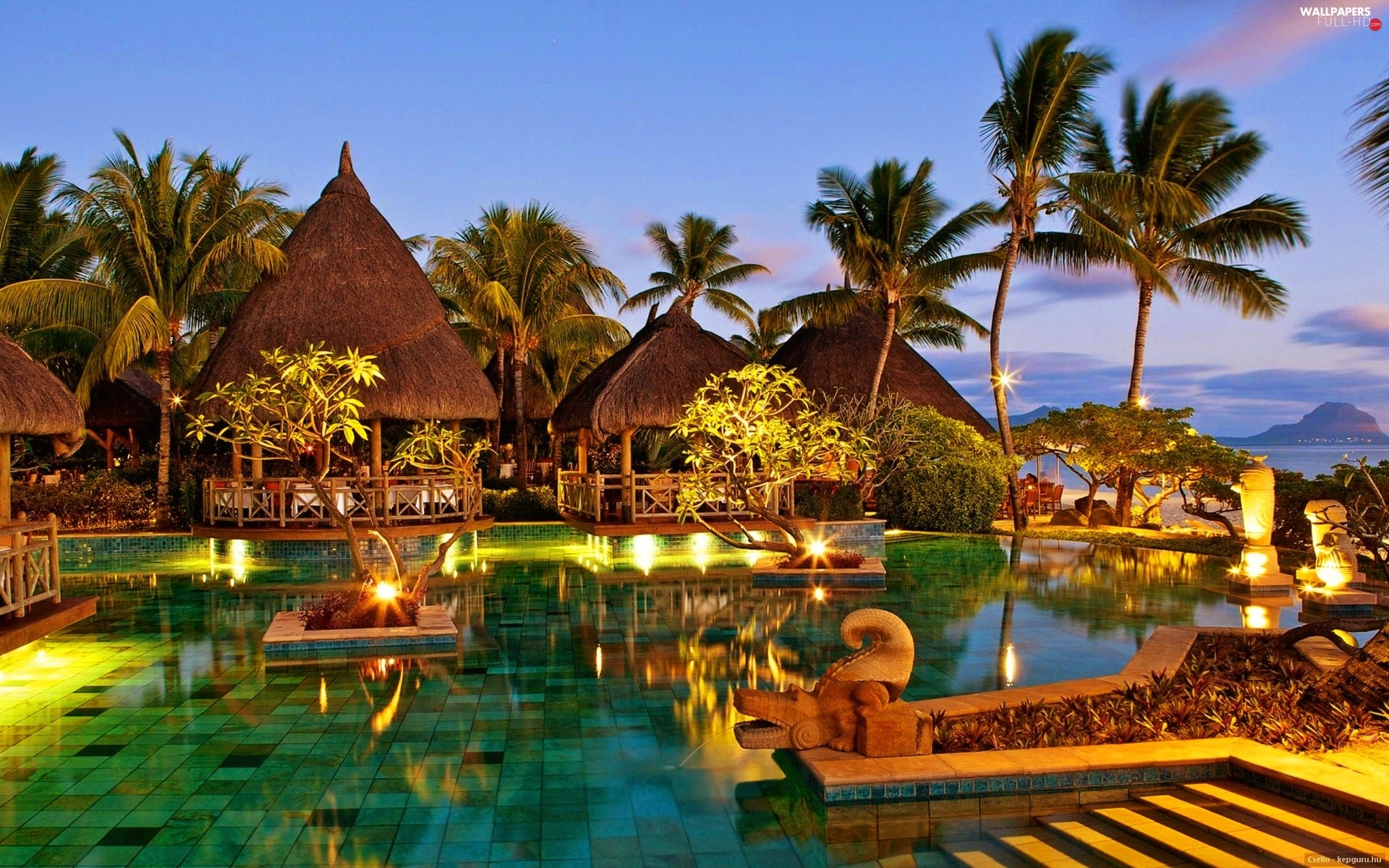 Pool, Restaurant, Mauritius, holiday