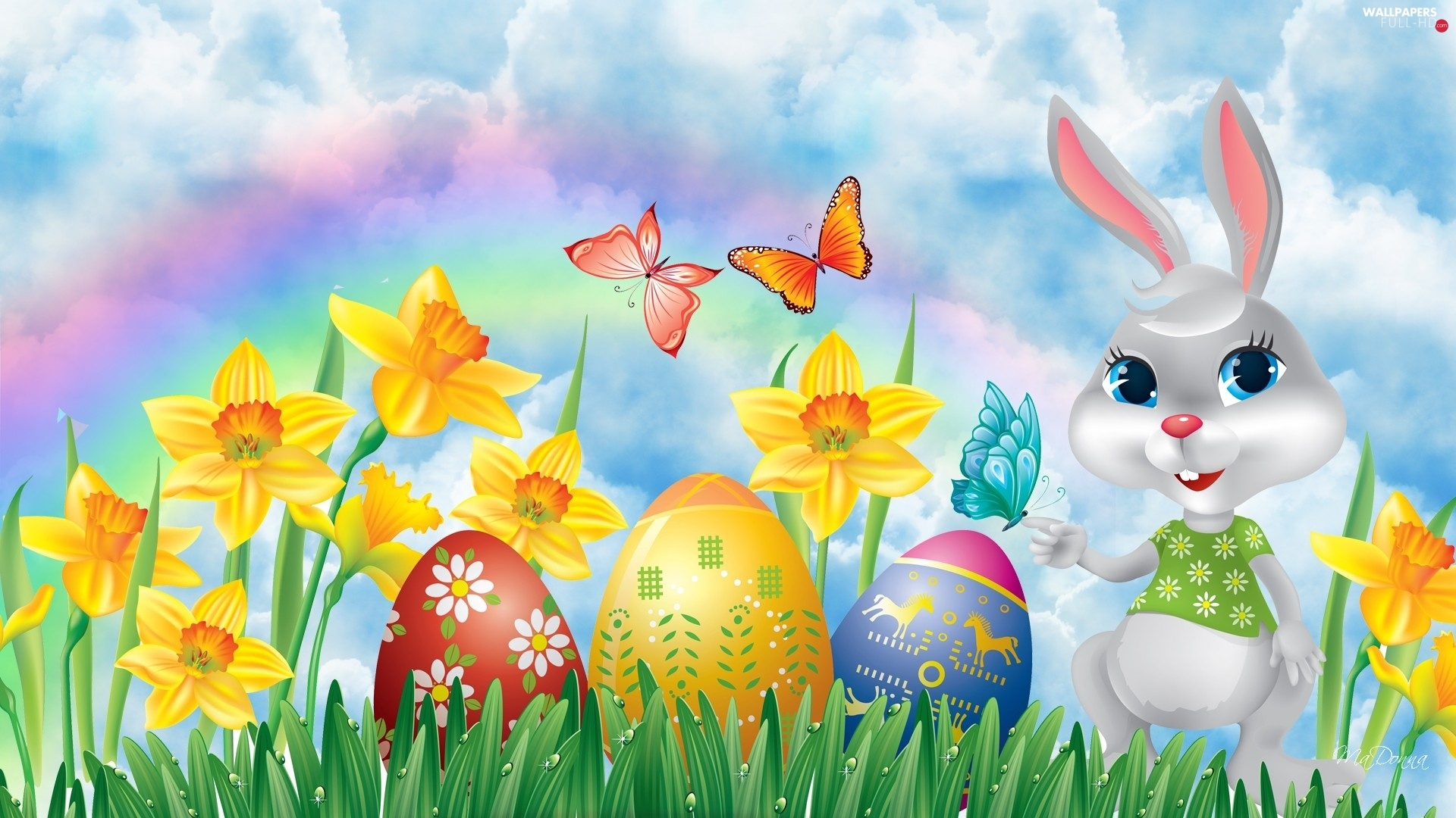 rabbit, eggs, butterfly, Easter, Daffodils, color
