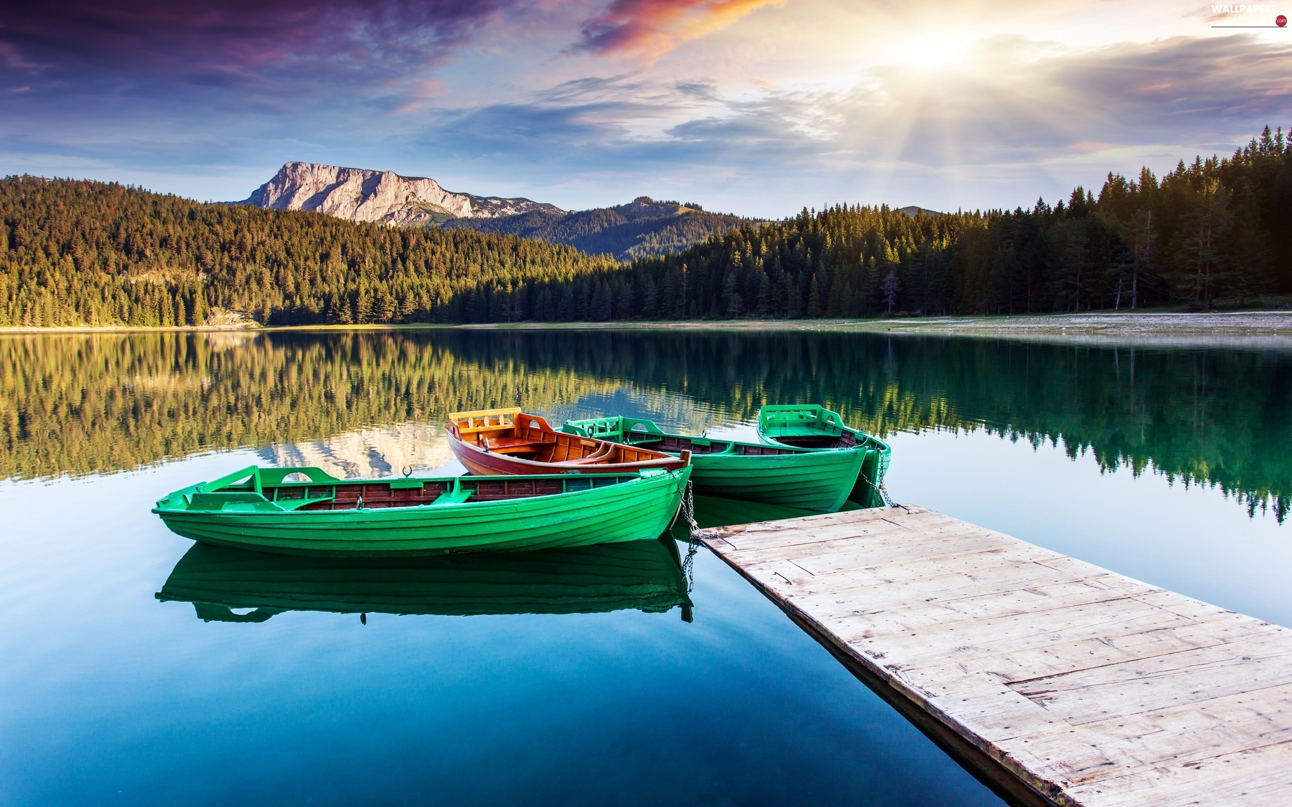 rays, Mountains, woods, lake, sun, boats