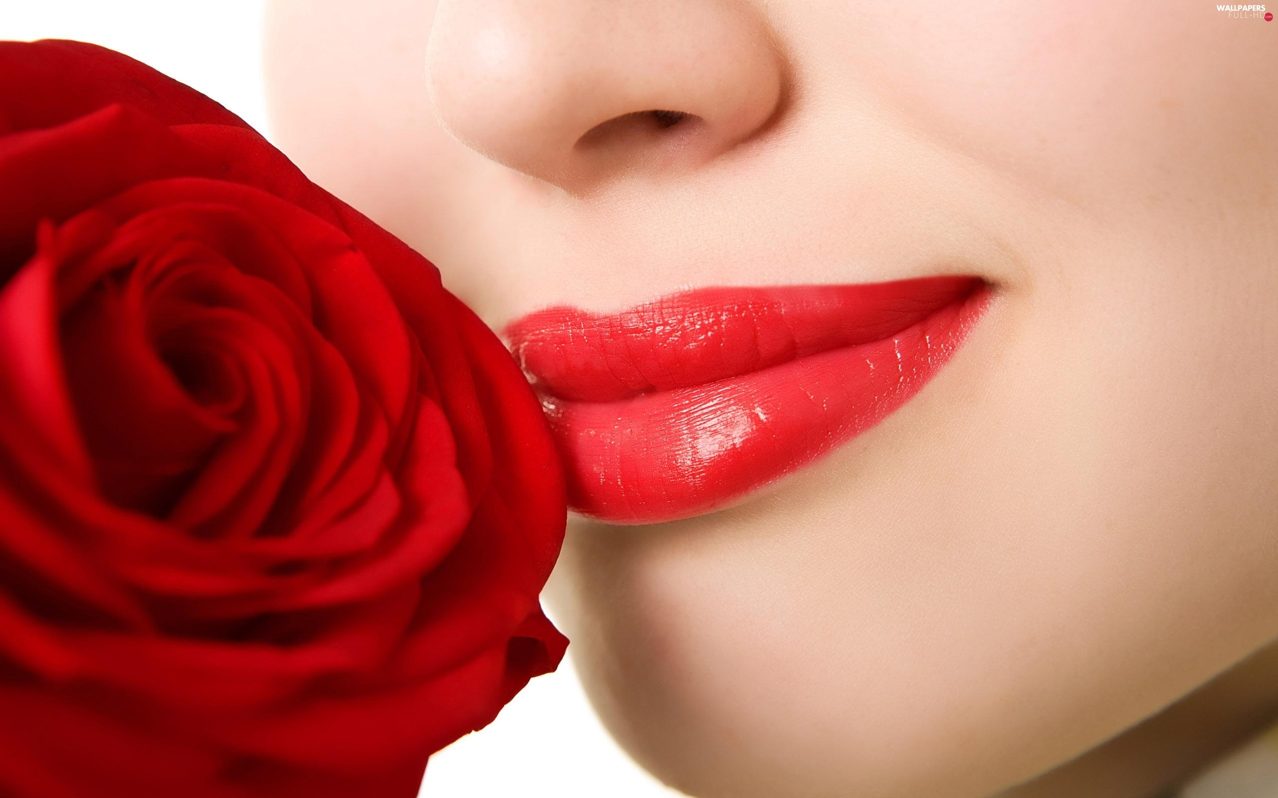 Red, Women, red hot, lips, rose