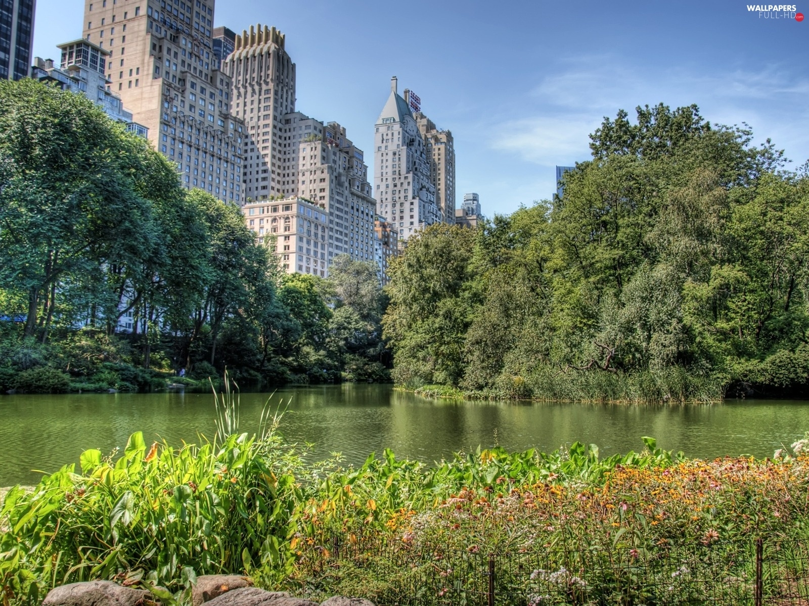 River, skyscrapers, Central Park, New York