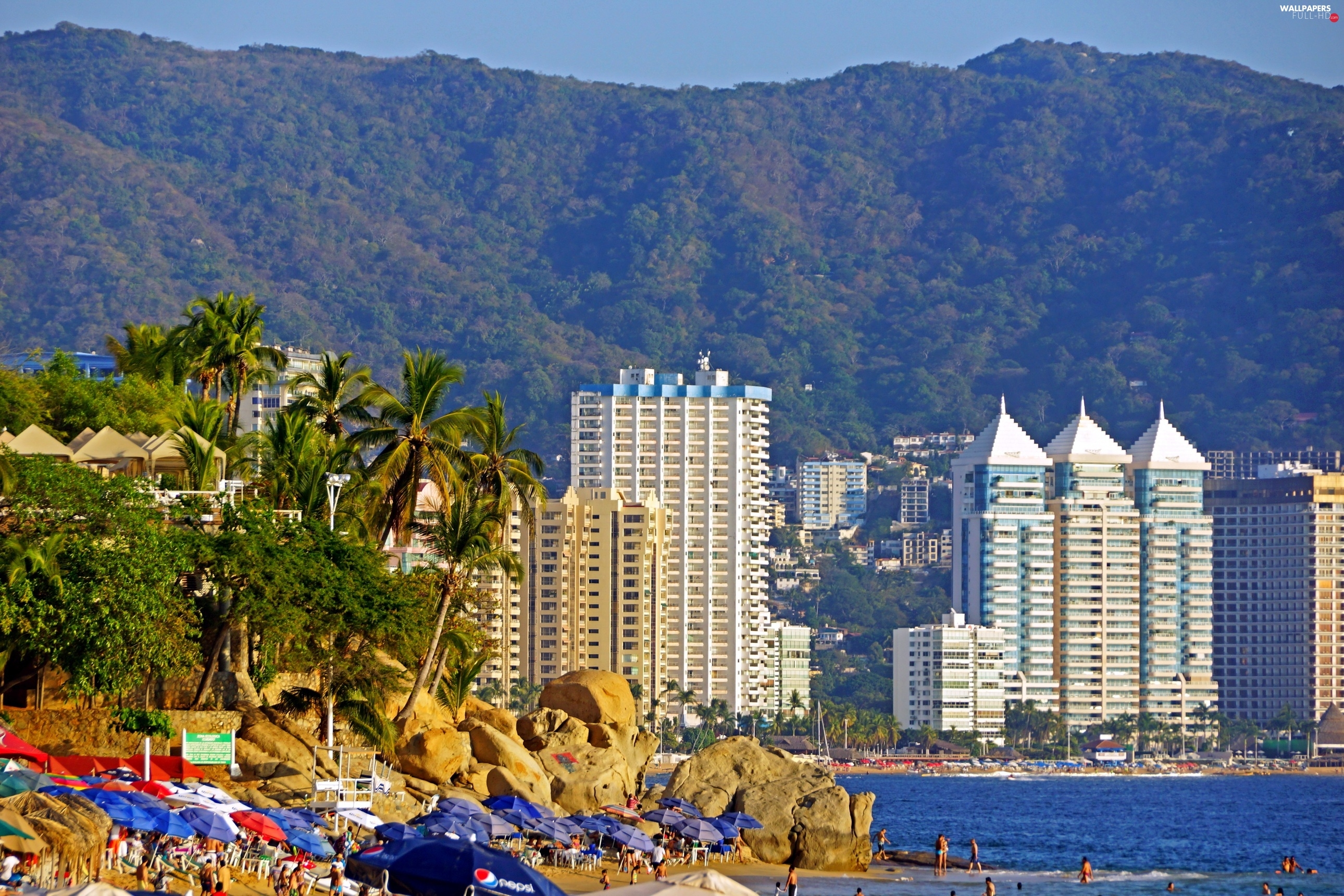 Sea, The banks, Hotels, Acapulco, by