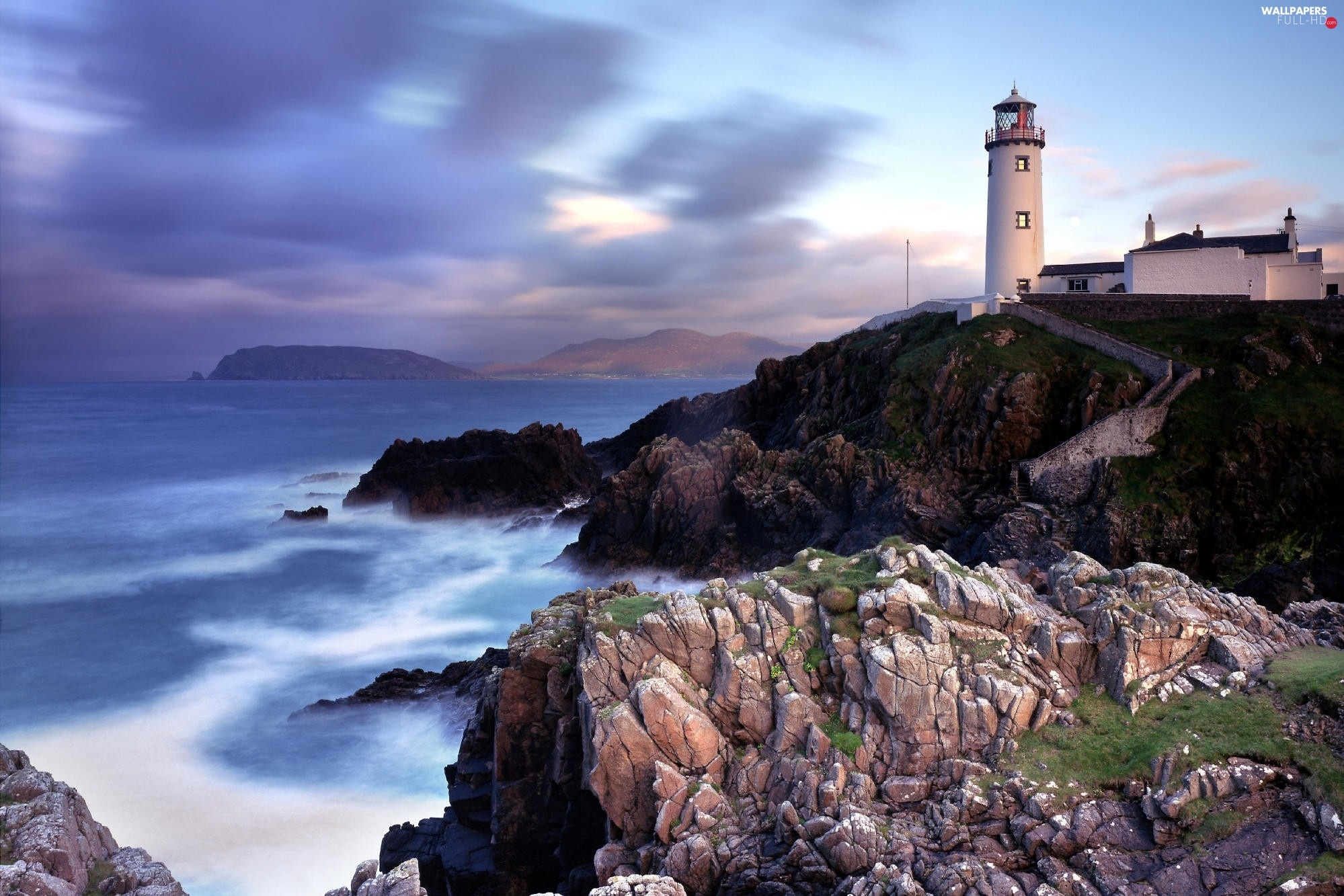 sea, rocks, Lighthouse, Ireland, maritime