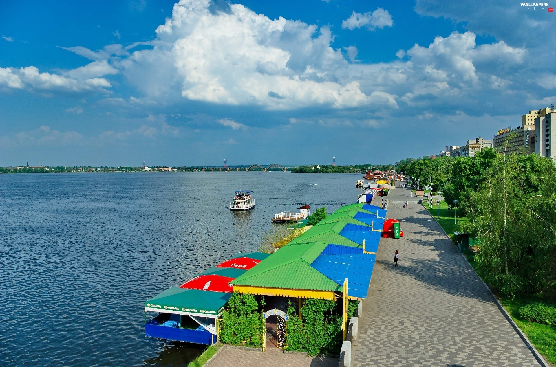 Sky, alley, vessels, River, Donetsk, Tents