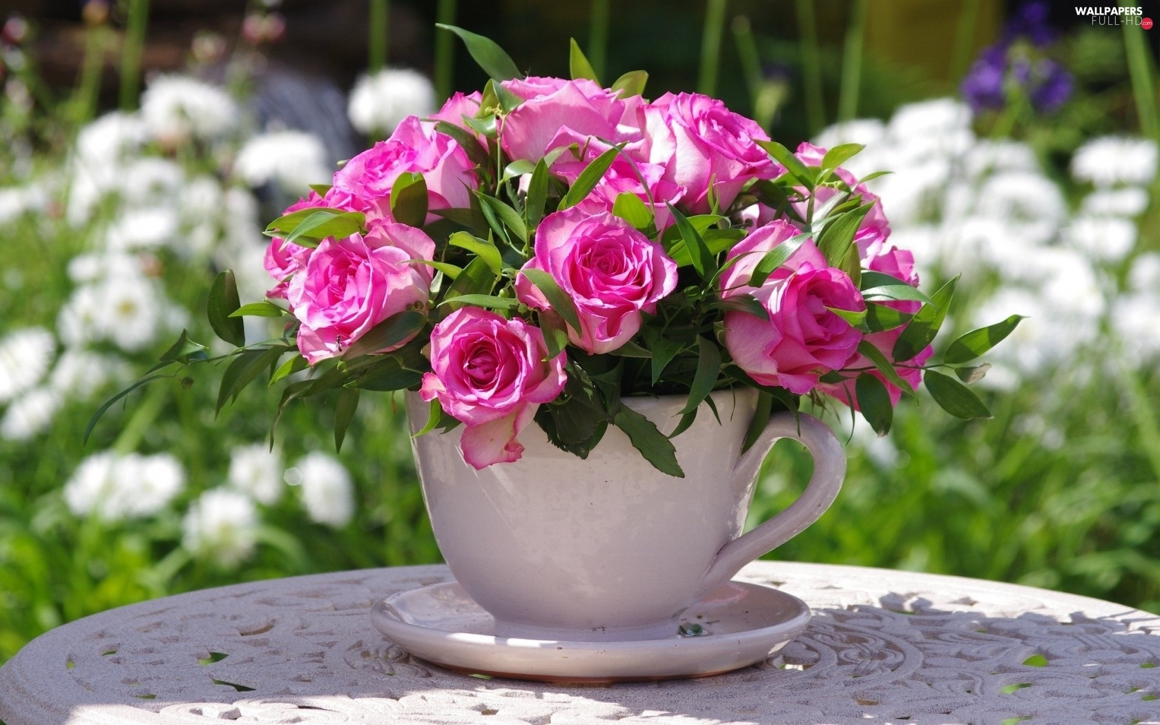 small bunch, cup, roses