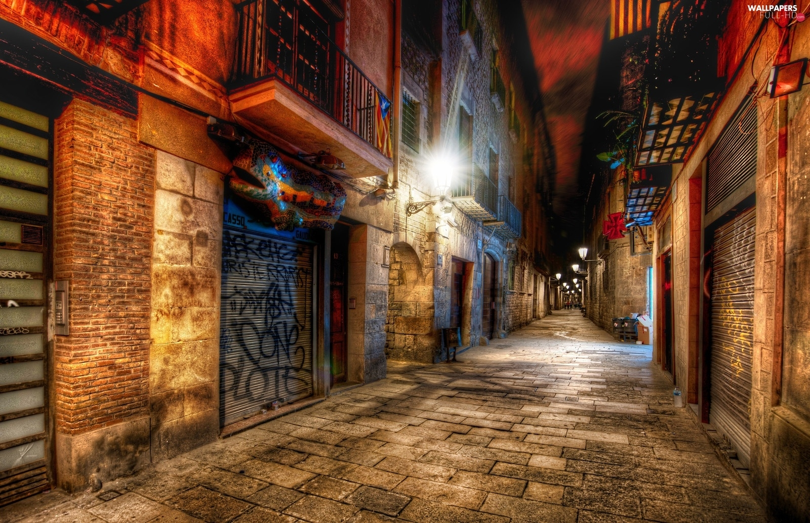 Spain, Barcelona, alley, Night