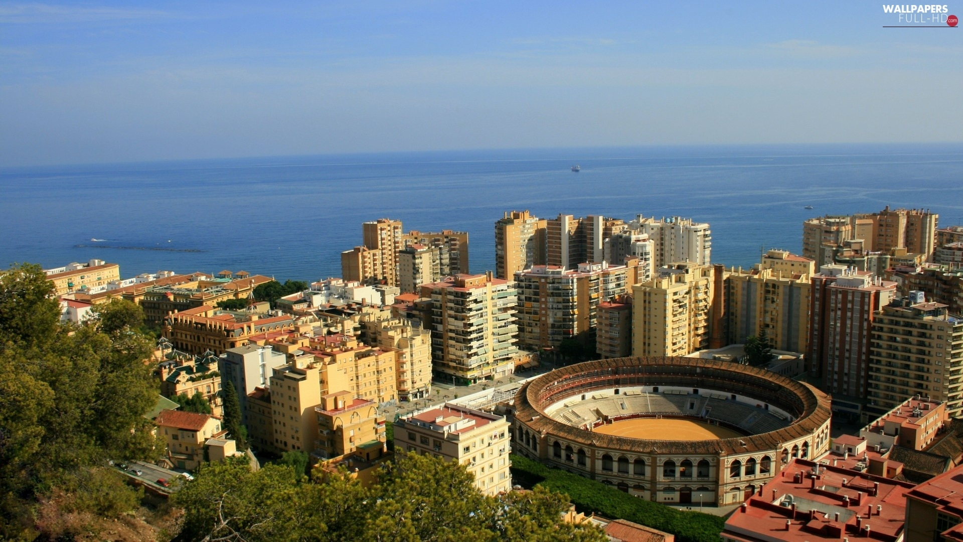 Stadium, Town, Spain, sea, Malaga