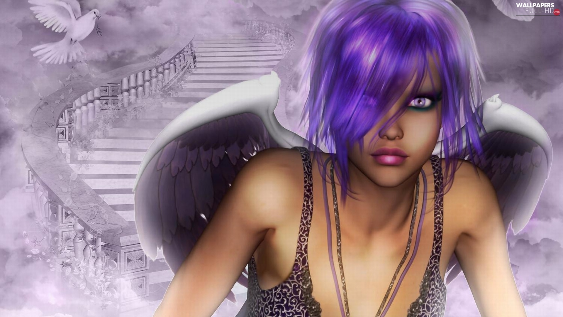 Stairs, Hair, angel, purple