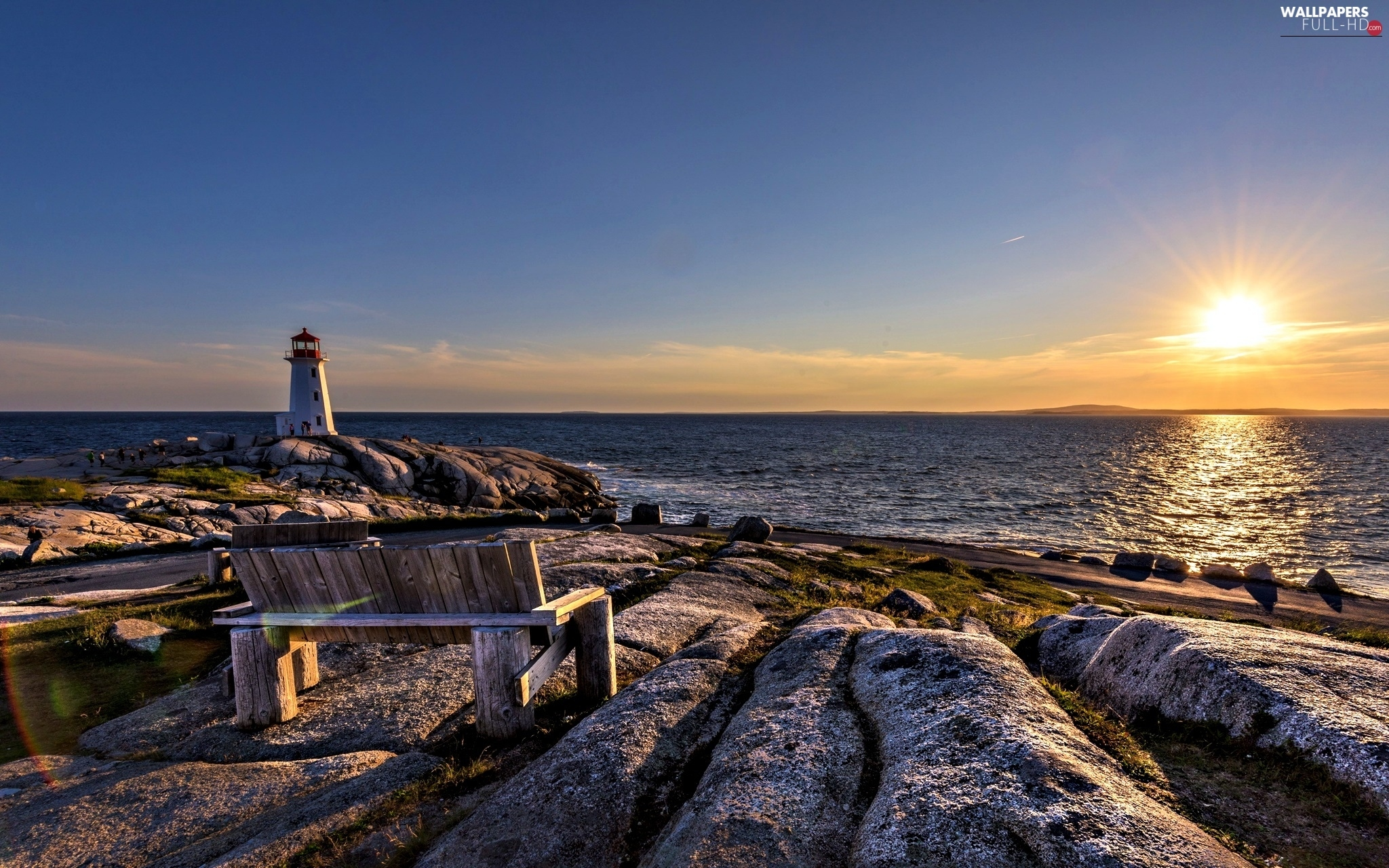 Bench, Stones rocks, Great Sunsets, Lighthouses, sea
