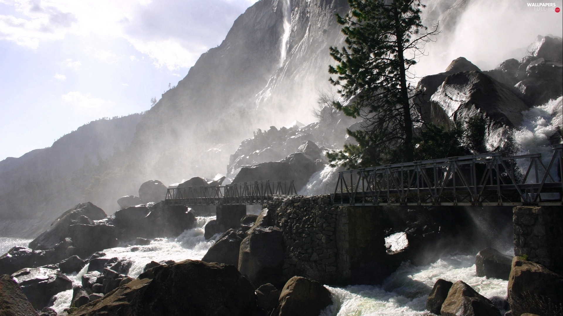 stream, rapid, Mountains, bridge, rocks