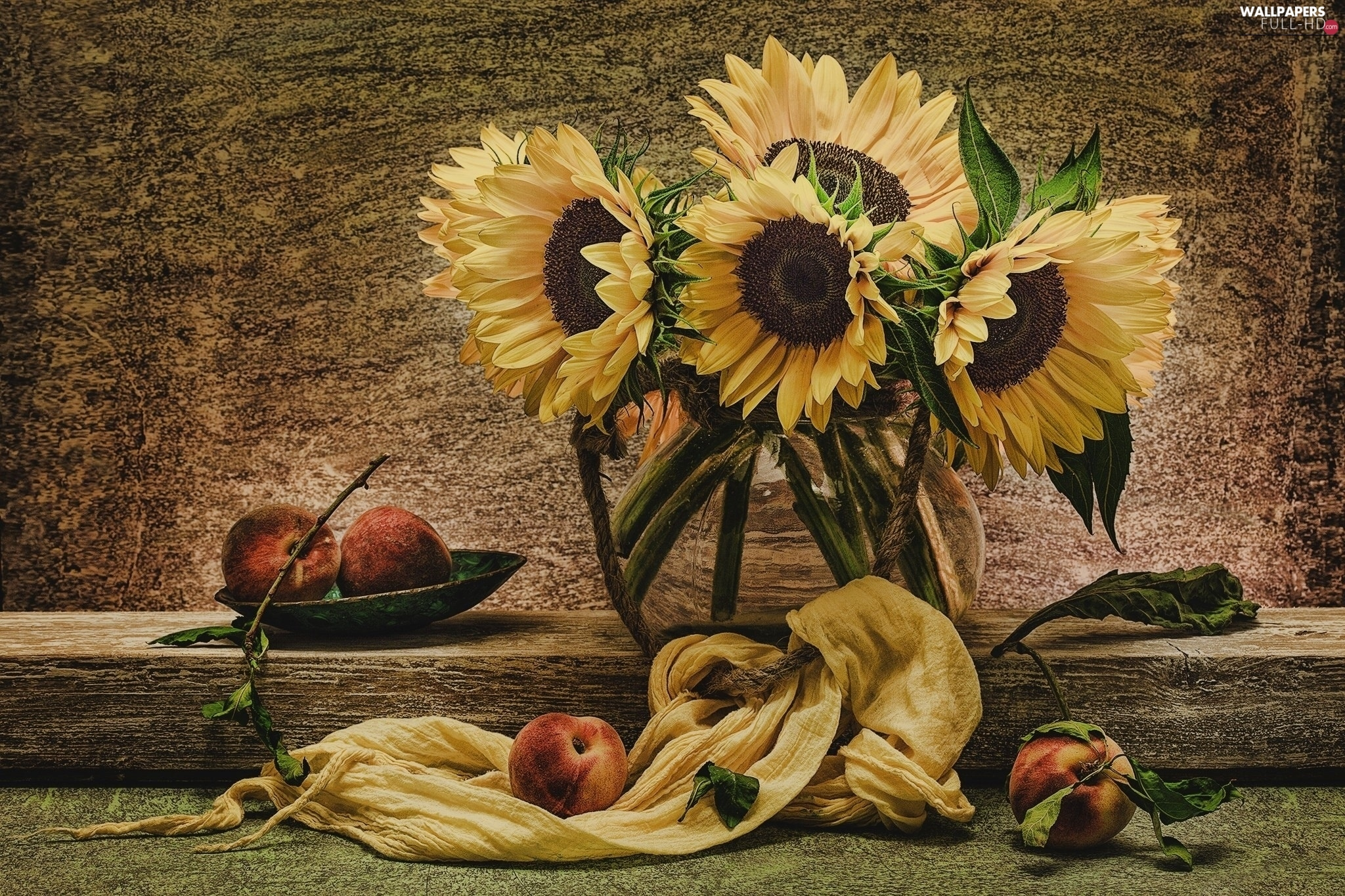 composition, sunflowers, Flowers
