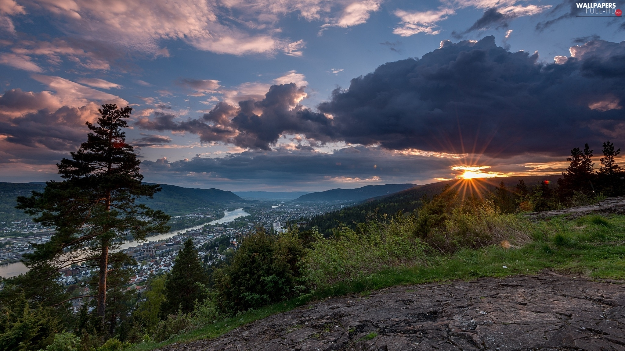 Great Sunsets, viewes, trees, Drammen, clouds, Norway, Mountains